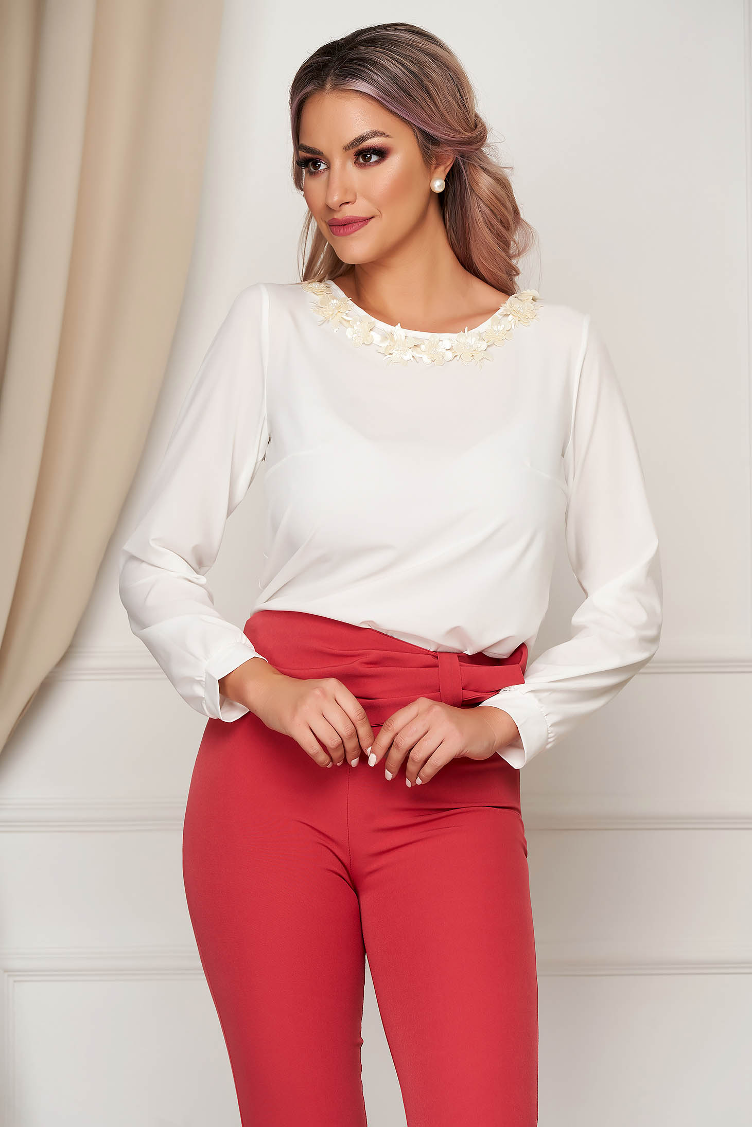 StarShinerS white women`s blouse office flared with floral details thin fabric