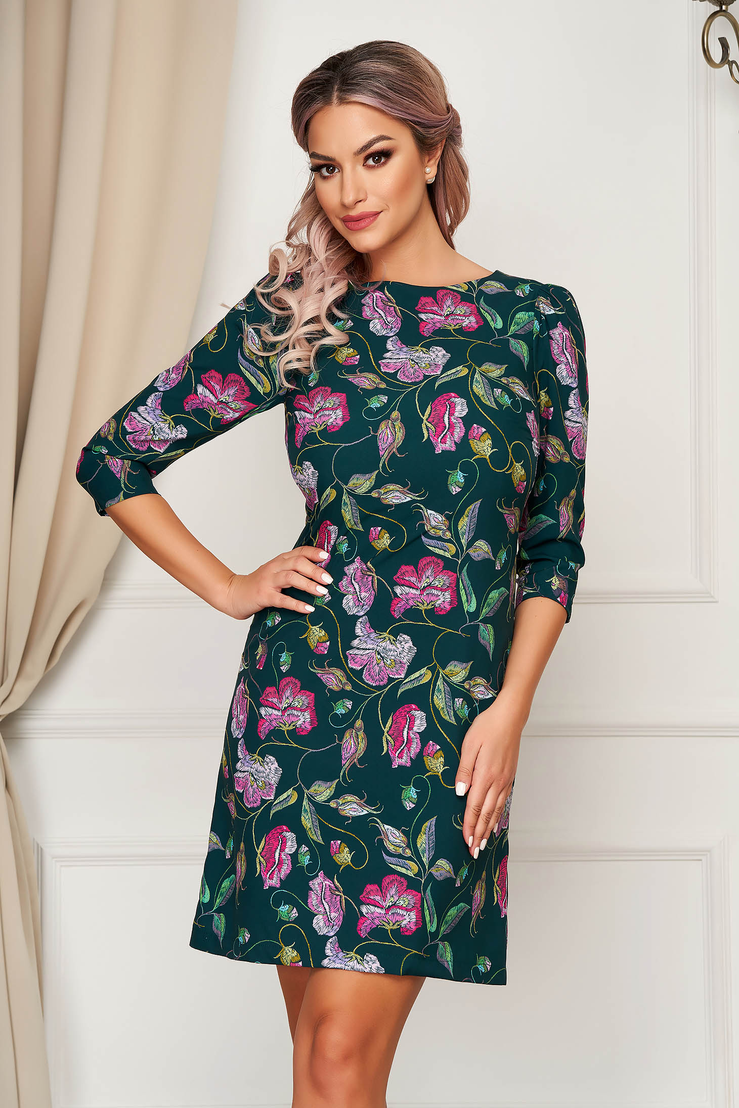 StarShinerS green dress elegant short cut straight slightly elastic fabric with floral prints