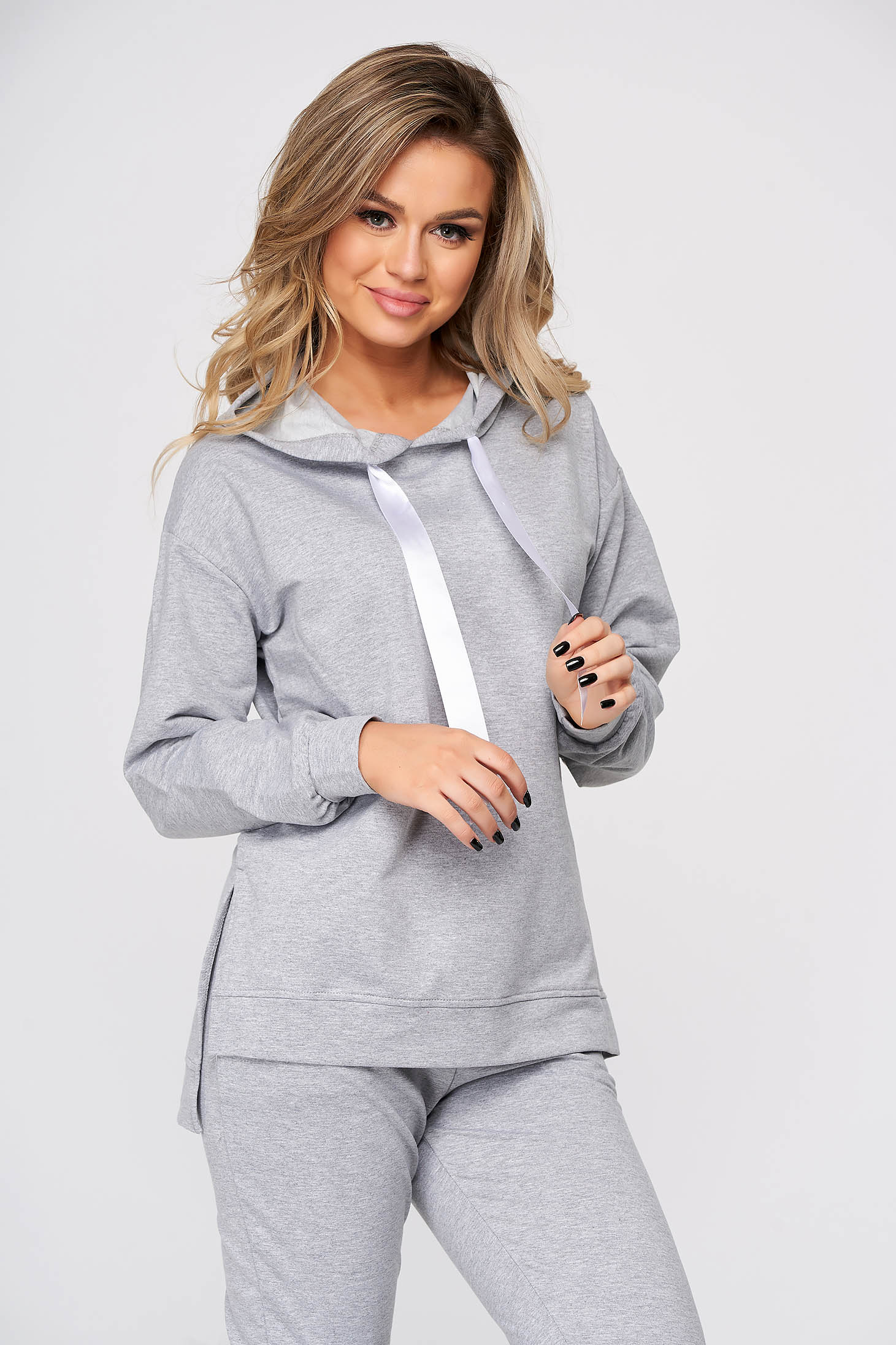 With trousers from two pieces cotton grey sport 2 pieces with easy cut