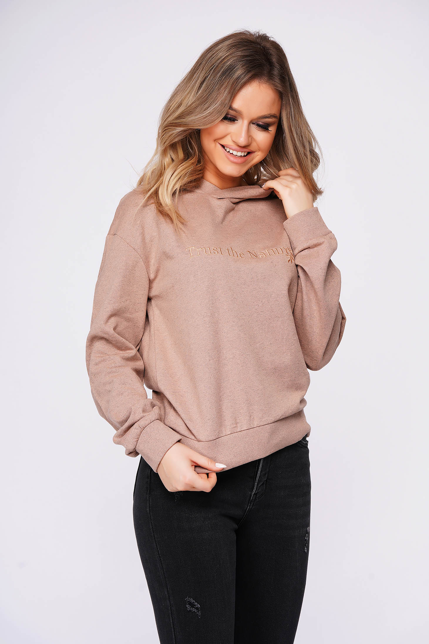 Peach women`s blouse casual flared hooded
