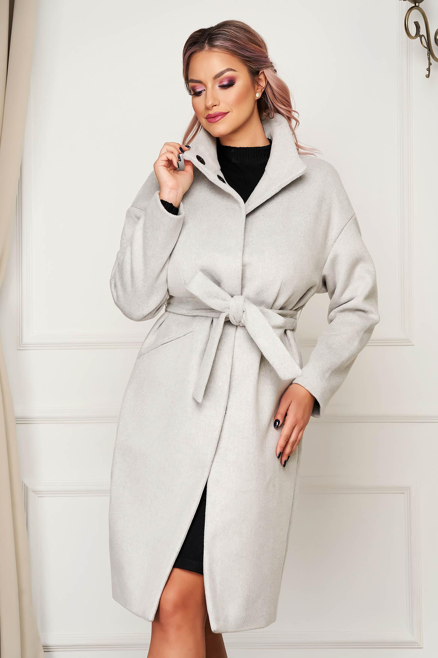 Palton Top Secret gri-deschis casual din stofa cu un croi drept