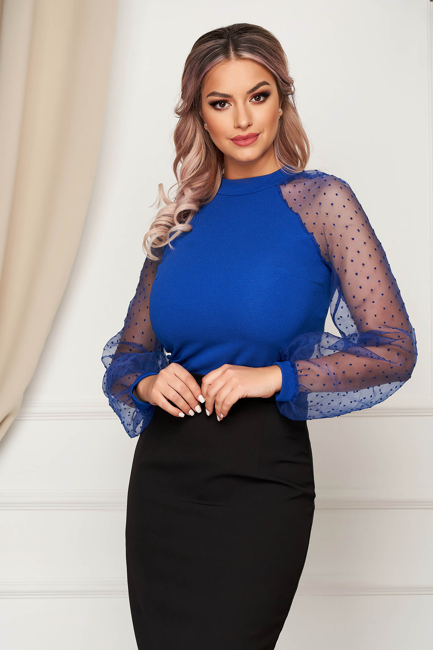 StarShinerS blue women`s blouse with tented cut with puffed sleeves