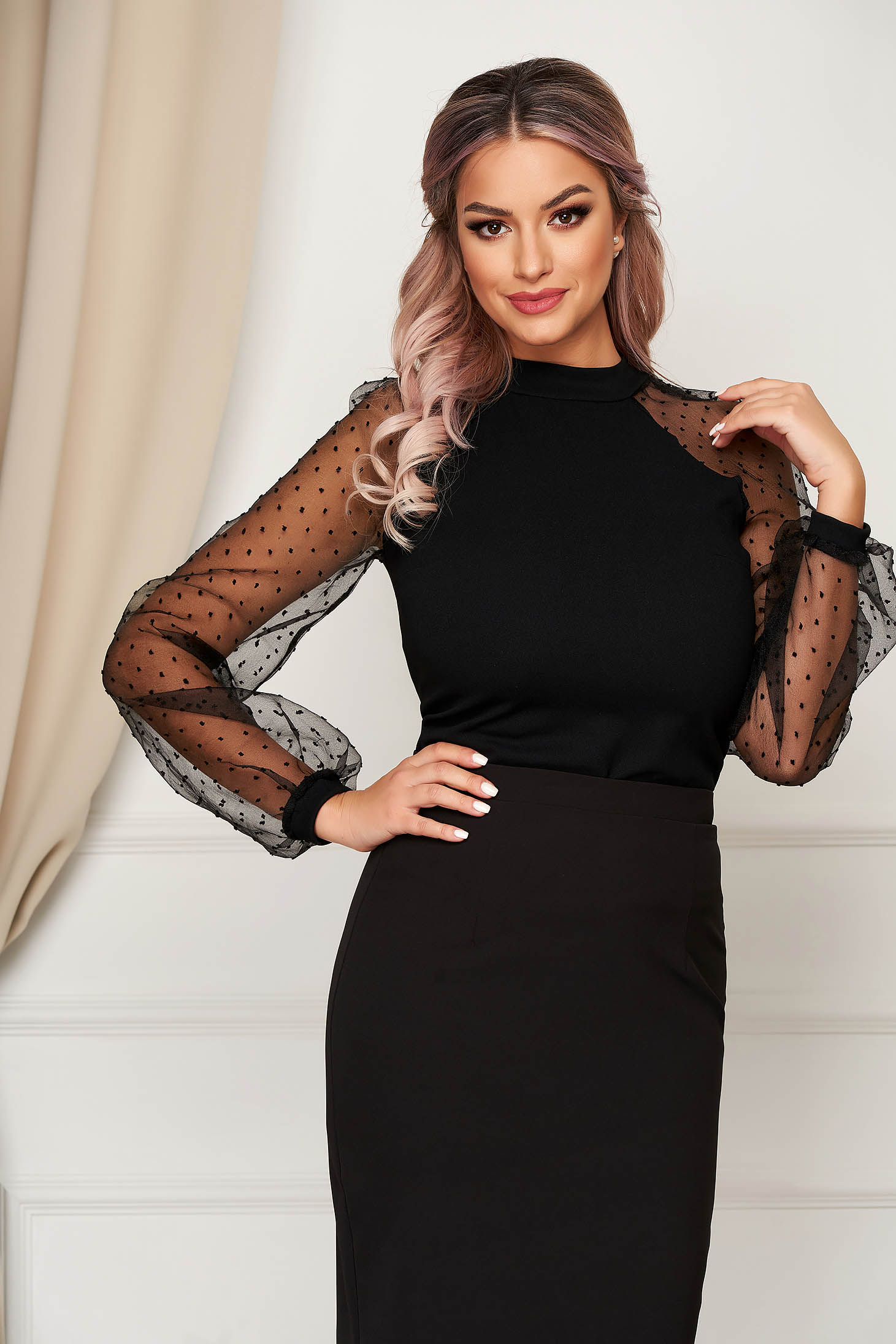 StarShinerS black women`s blouse with tented cut with puffed sleeves