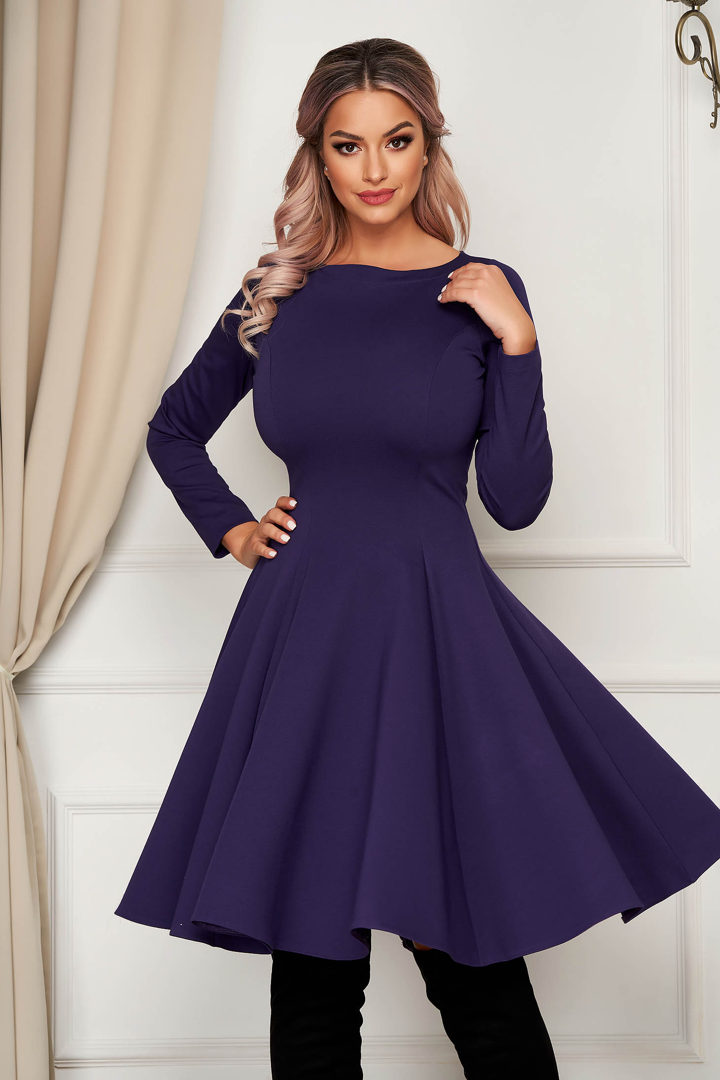 Midi purple daily dress StarShinerS cloche slightly elastic fabric