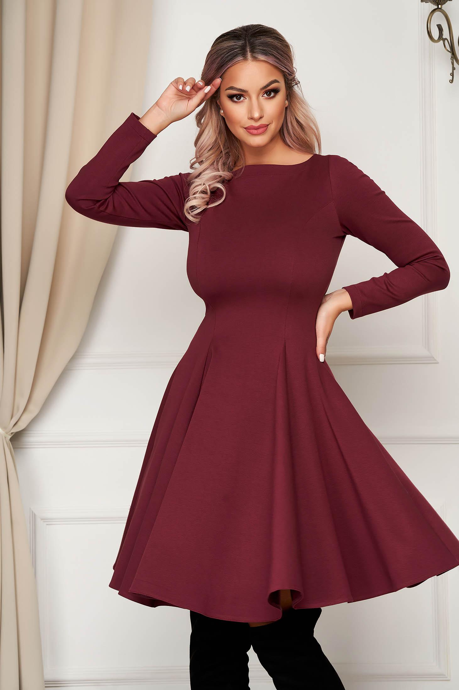 Midi burgundy daily dress StarShinerS cloche slightly elastic fabric
