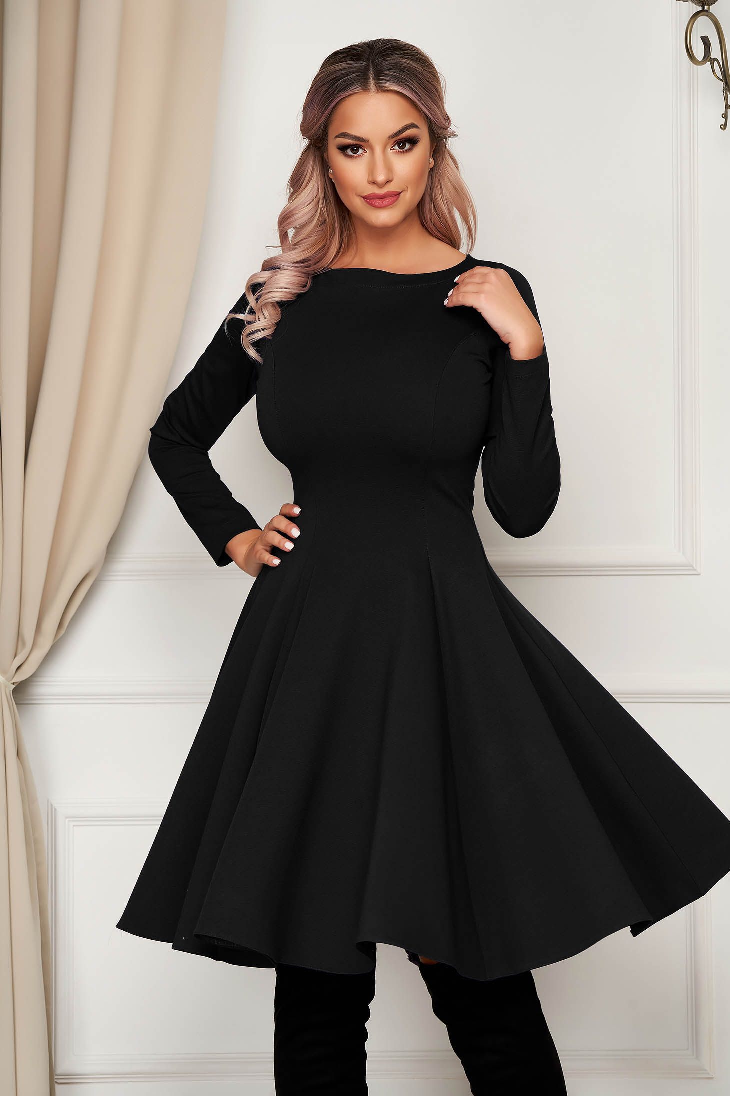 Midi black daily dress StarShinerS cloche slightly elastic fabric