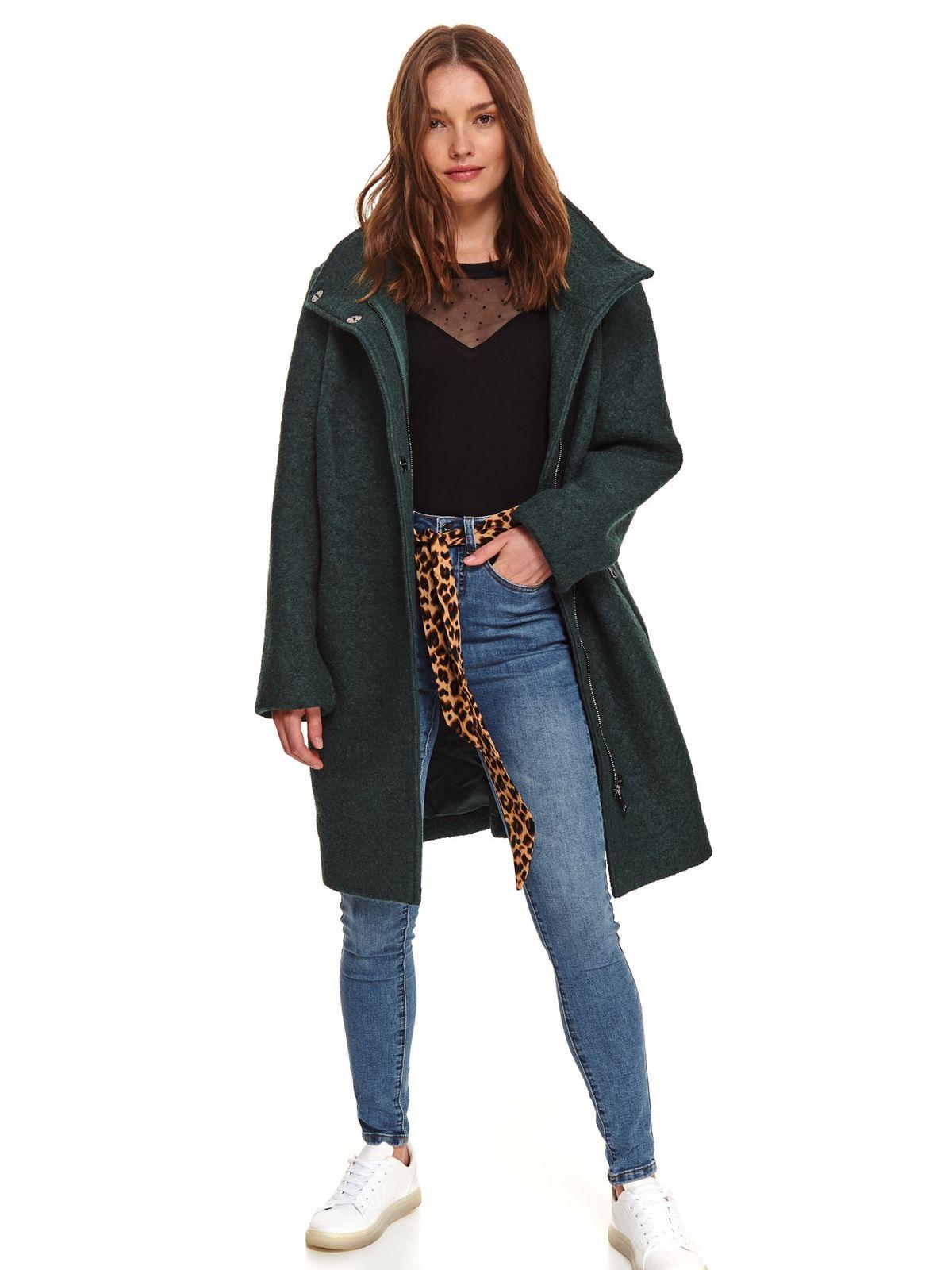 Palton Top Secret verde casual cu un croi drept din stofa din lana