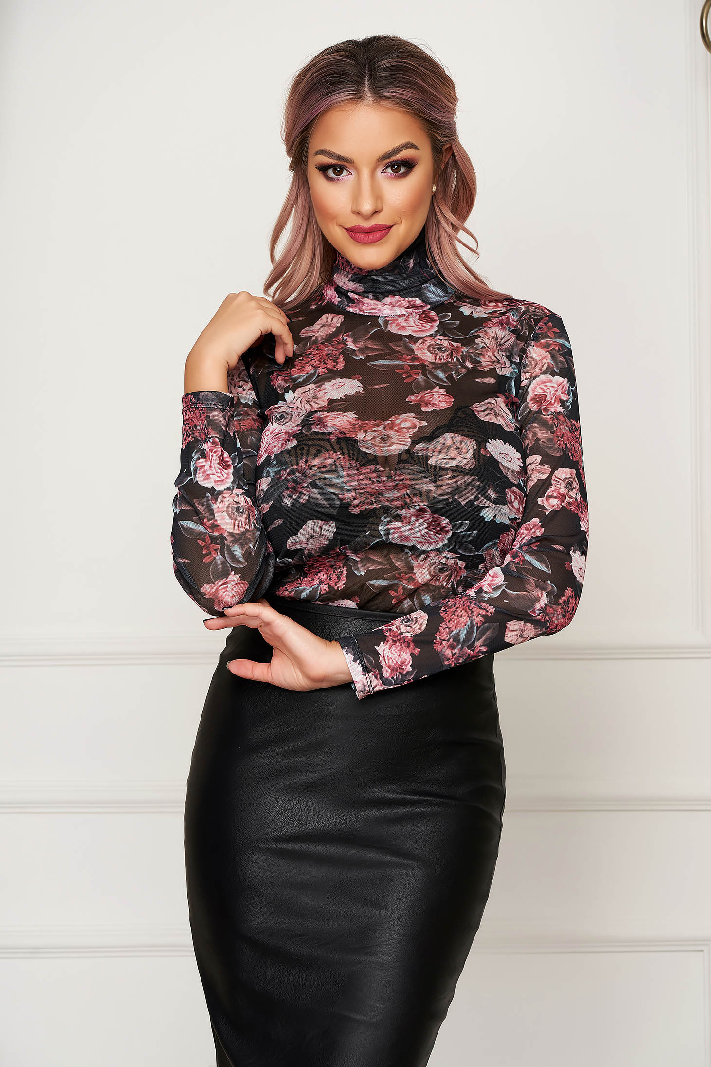 Bluza dama Top Secret neagra casual pe gat cu maneci lungi
