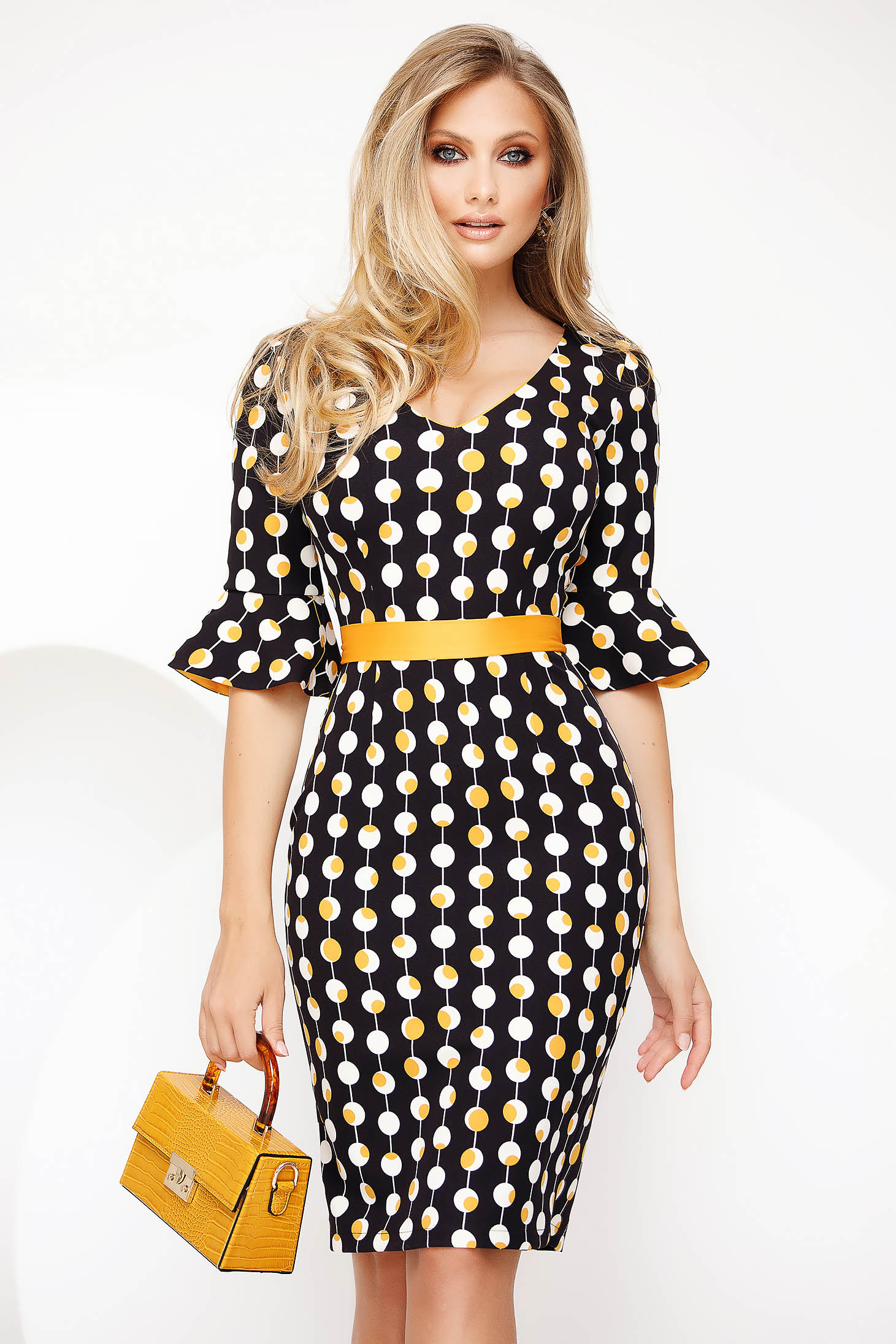 Yellow office short cut pencil dress cloth with bell sleeve
