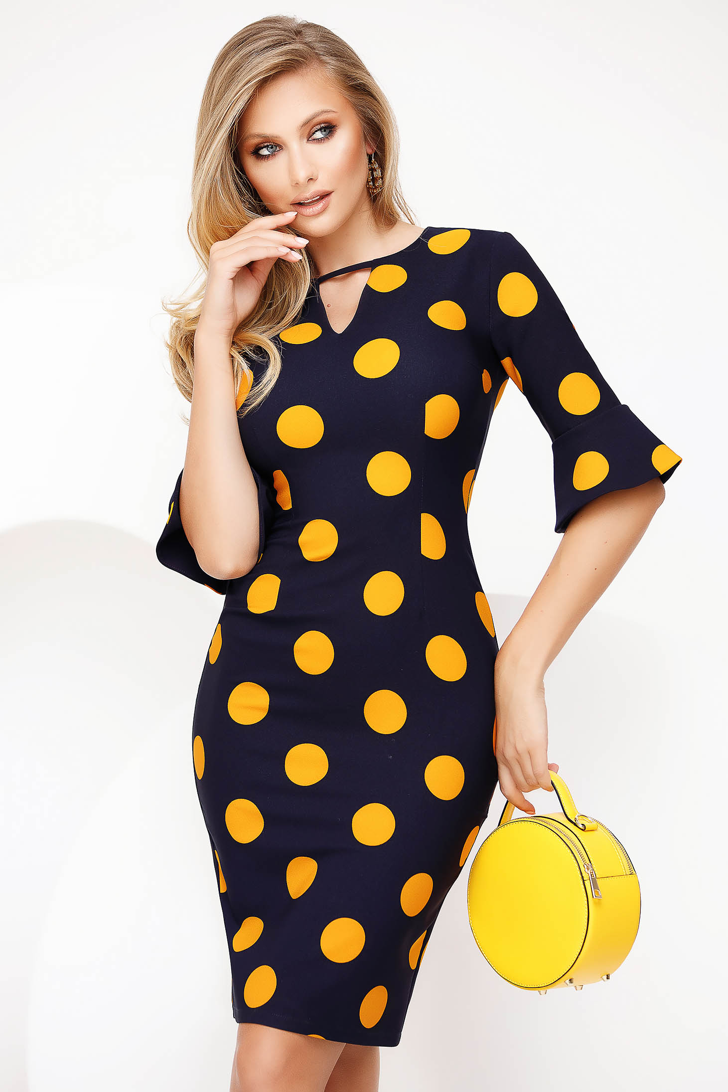 Yellow office pencil dress cloth thin fabric with bell sleeve