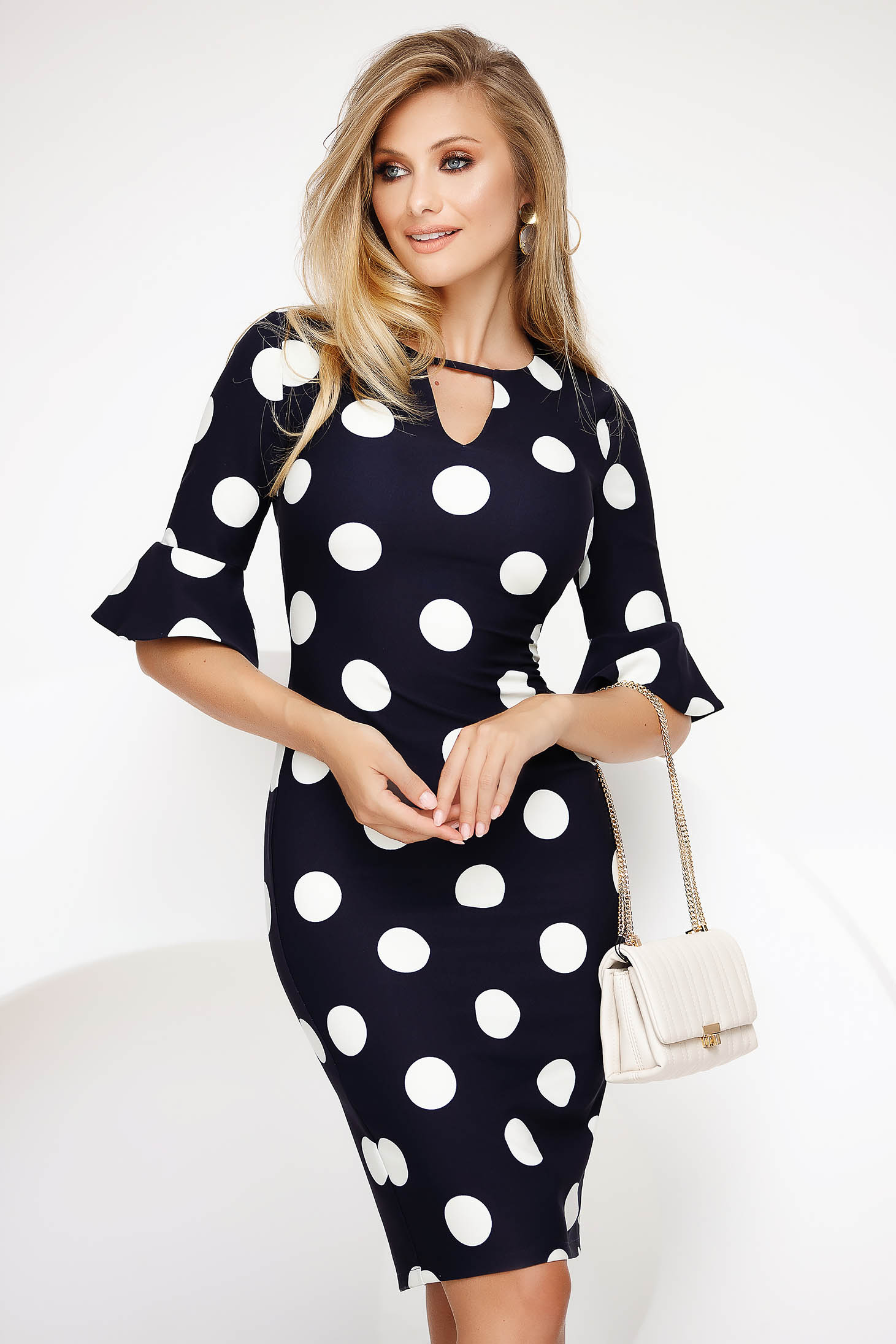 White office pencil dress cloth thin fabric with bell sleeve
