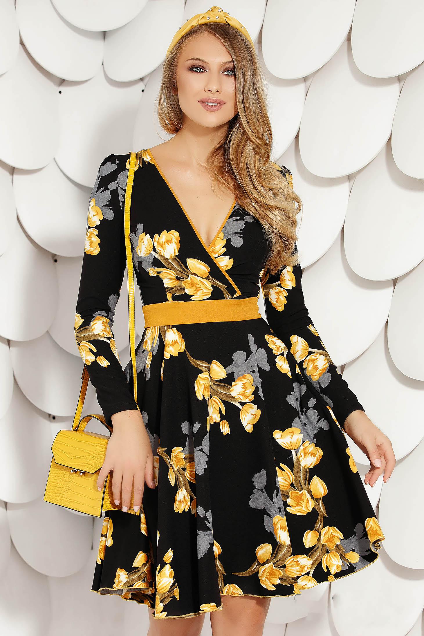 Yellow short cut daily dress cloche thin fabric