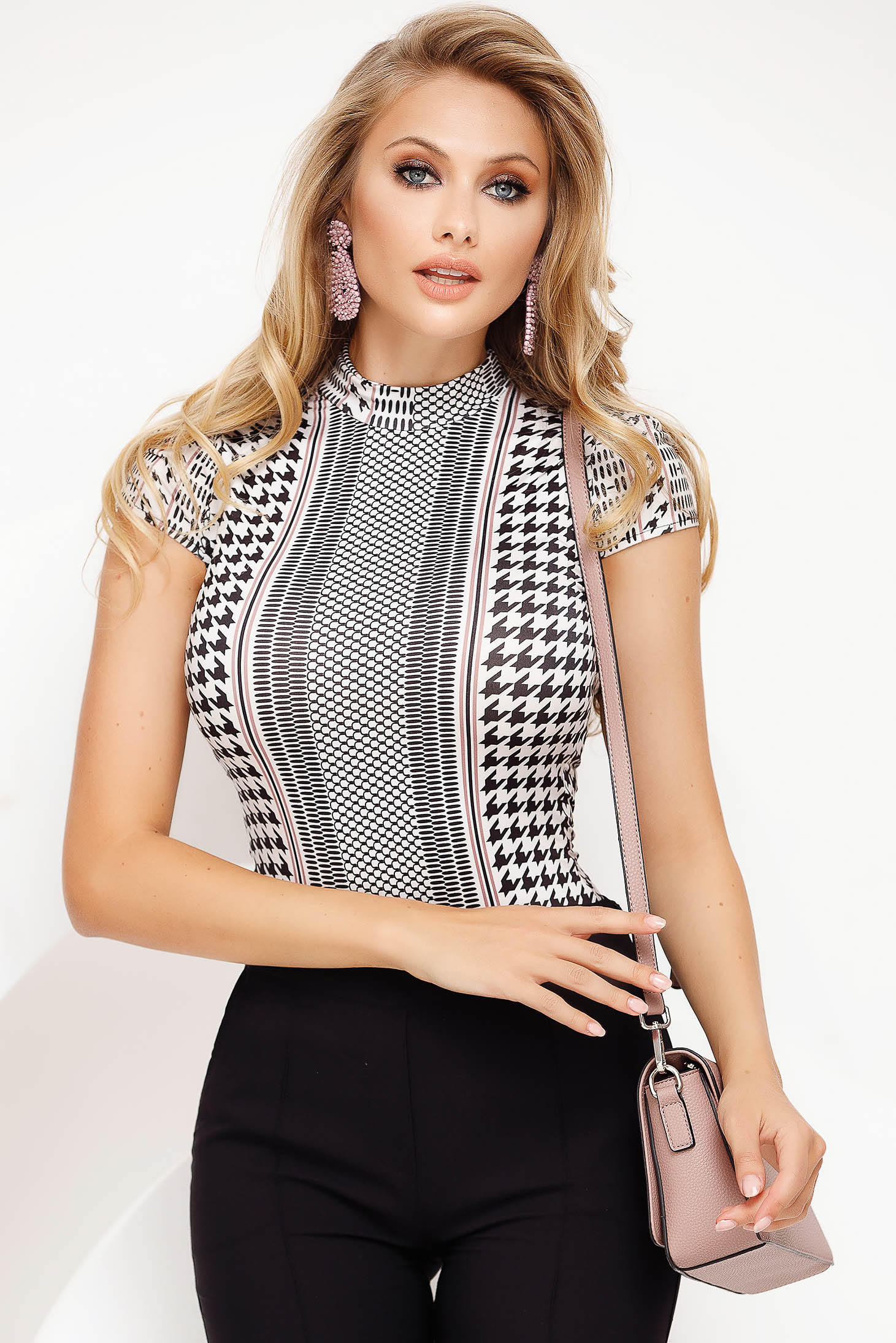 Grey body elegant with tented cut thin fabric with turtle neck