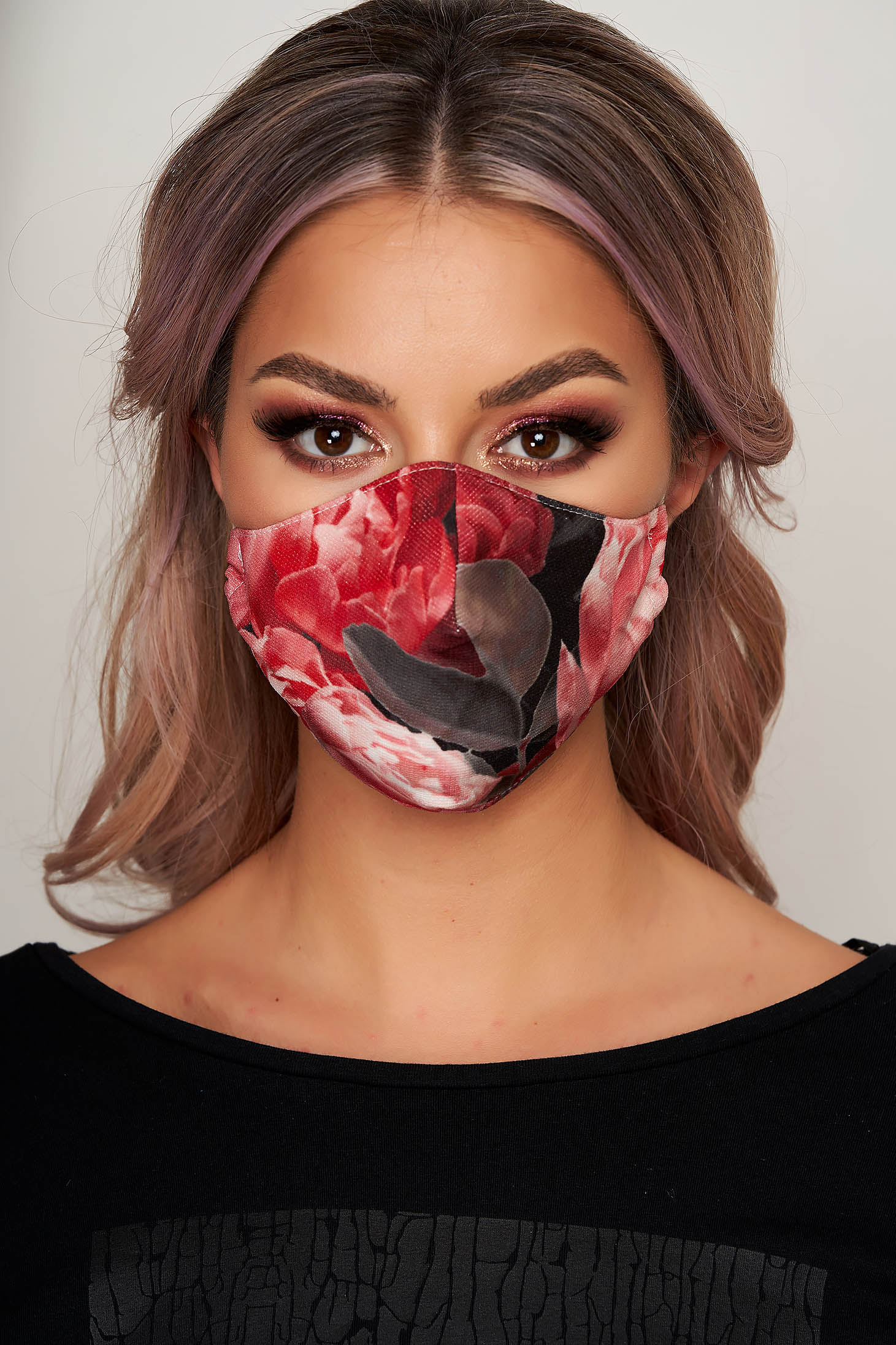 Masca textila pentru femei StarShinerS rosie