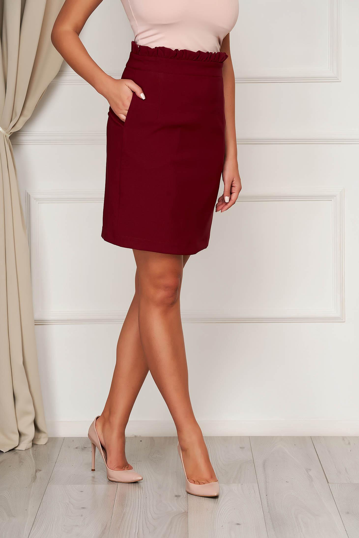 Burgundy skirt office short cut flared cloth from elastic fabric