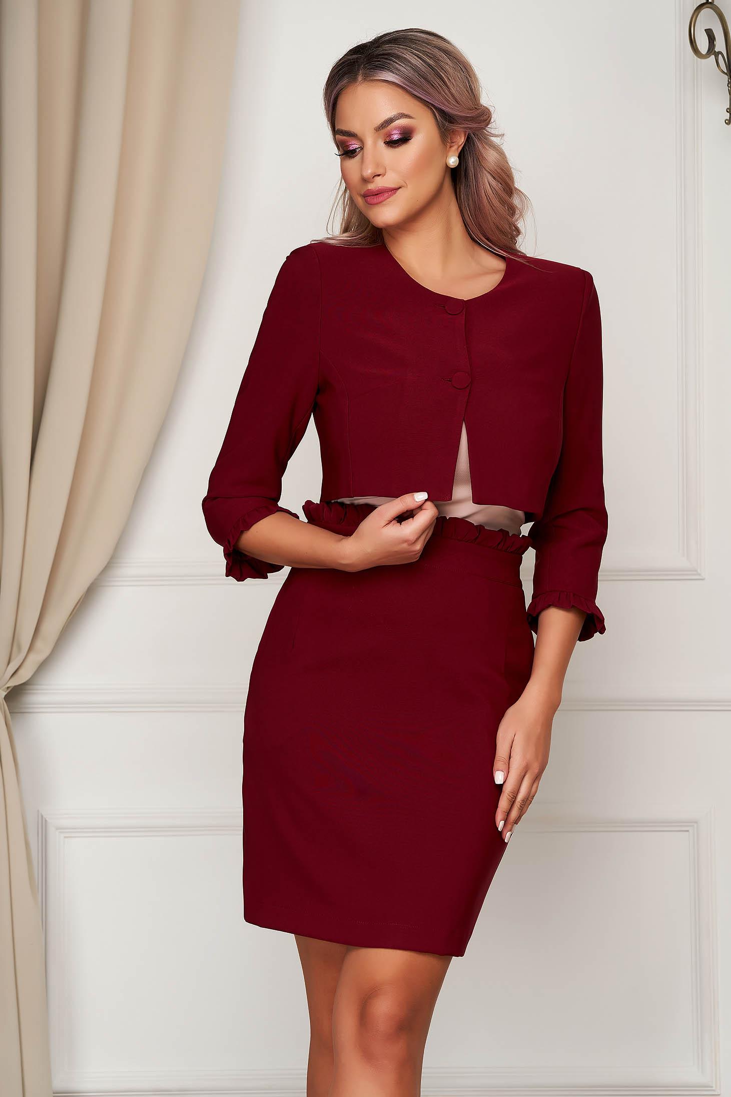 Office short cut burgundy jacket flared thin fabric