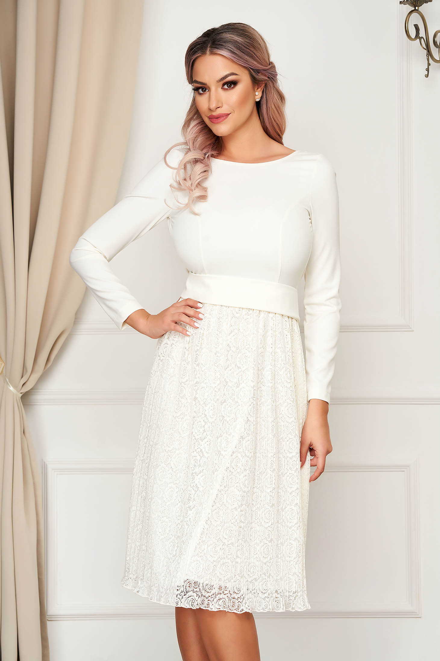 Dress StarShinerS ivory elegant midi cloche laced with cut back