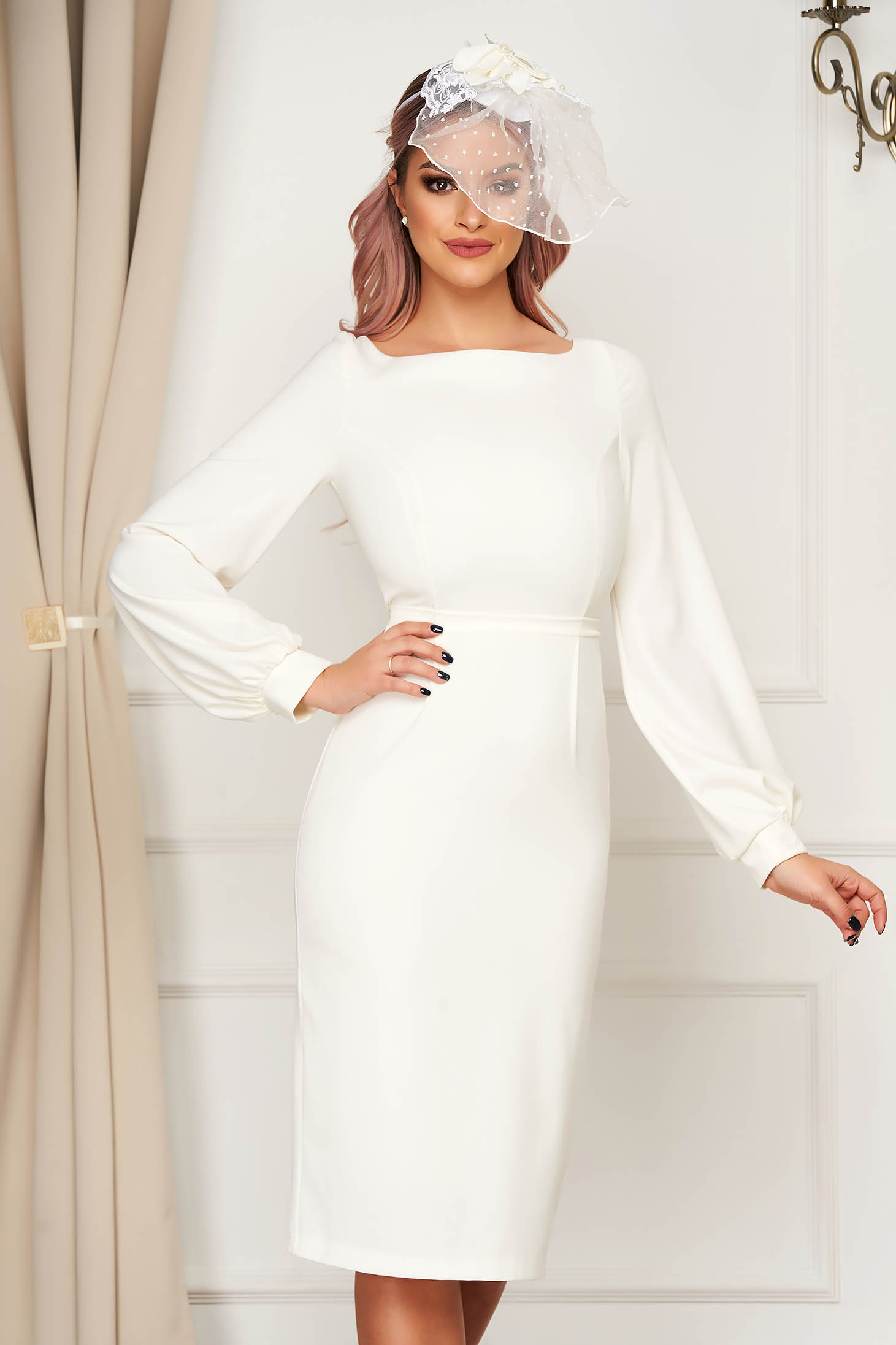 Elegant white dress StarShinerS pencil slightly elastic fabric with inside lining