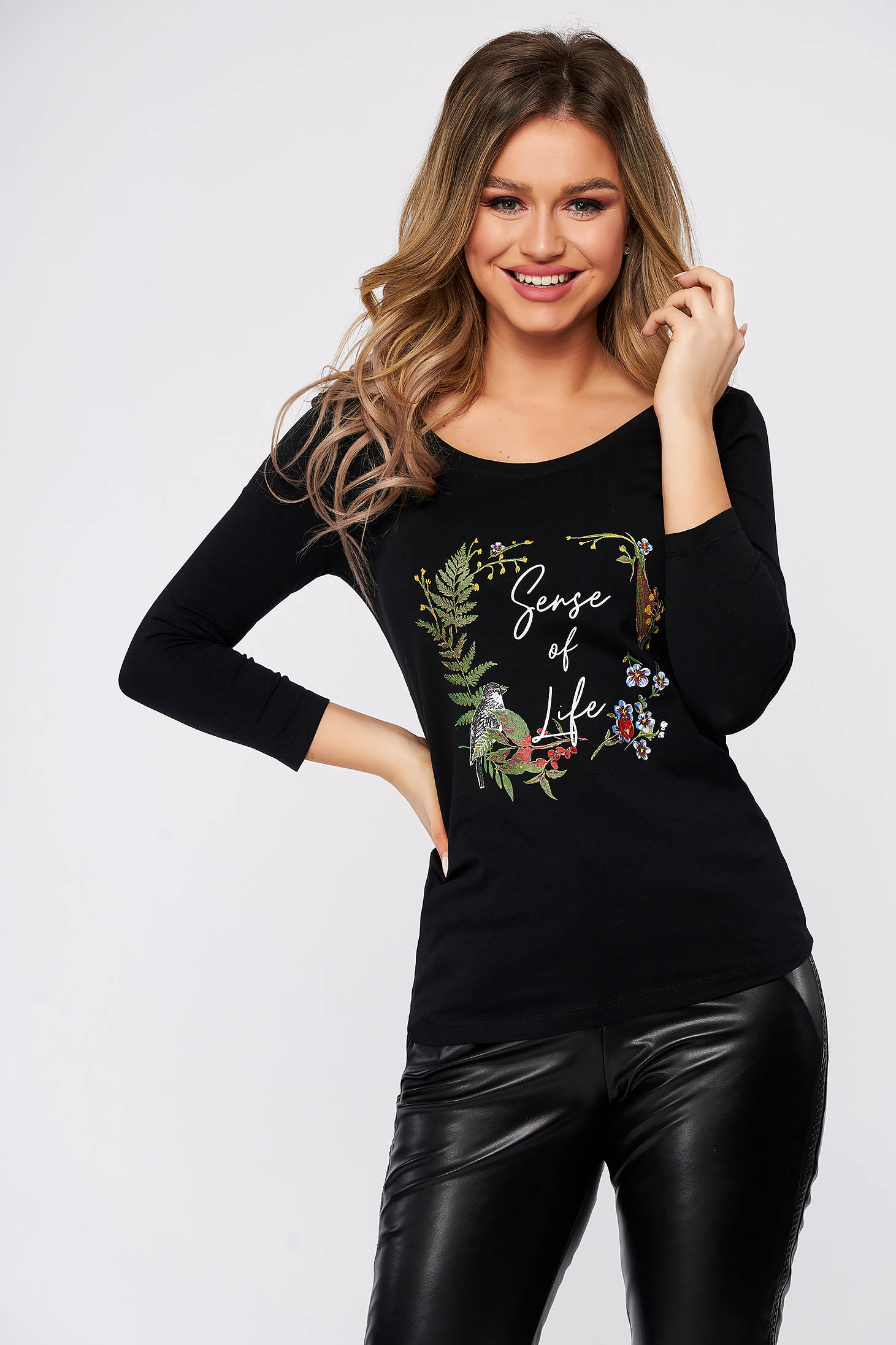 Bluza dama Top Secret neagra casual cu croi larg si maneci trei-sferturi