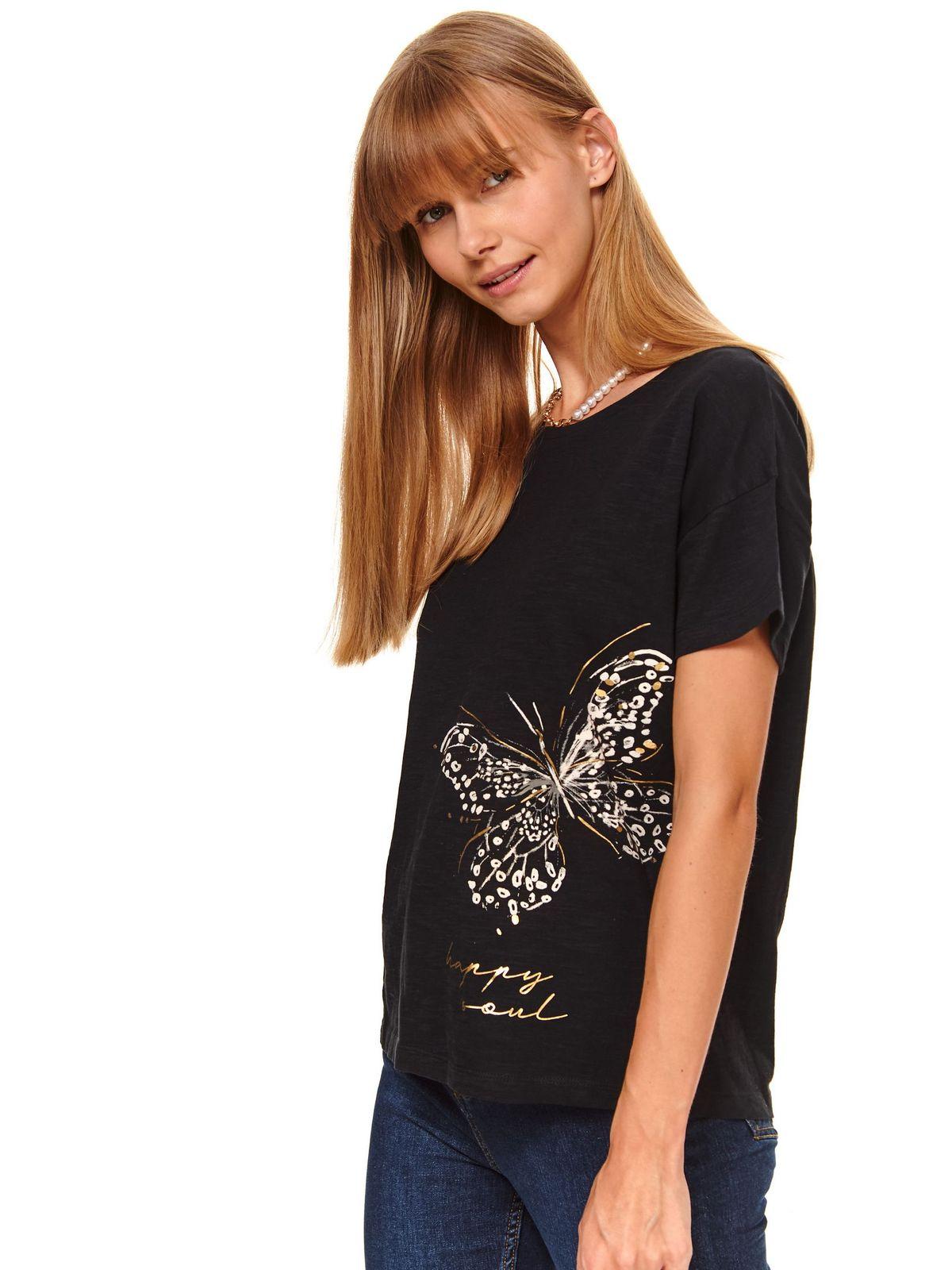 Tricou Top Secret negru casual cu croi larg cu maneci scurte si imprimeuri grafice