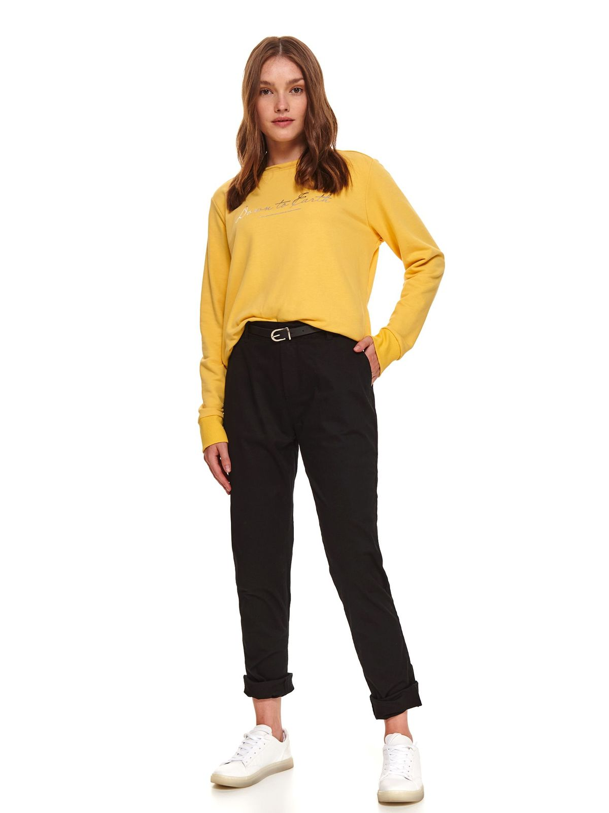 Black trousers casual denim with pockets faux leather belt