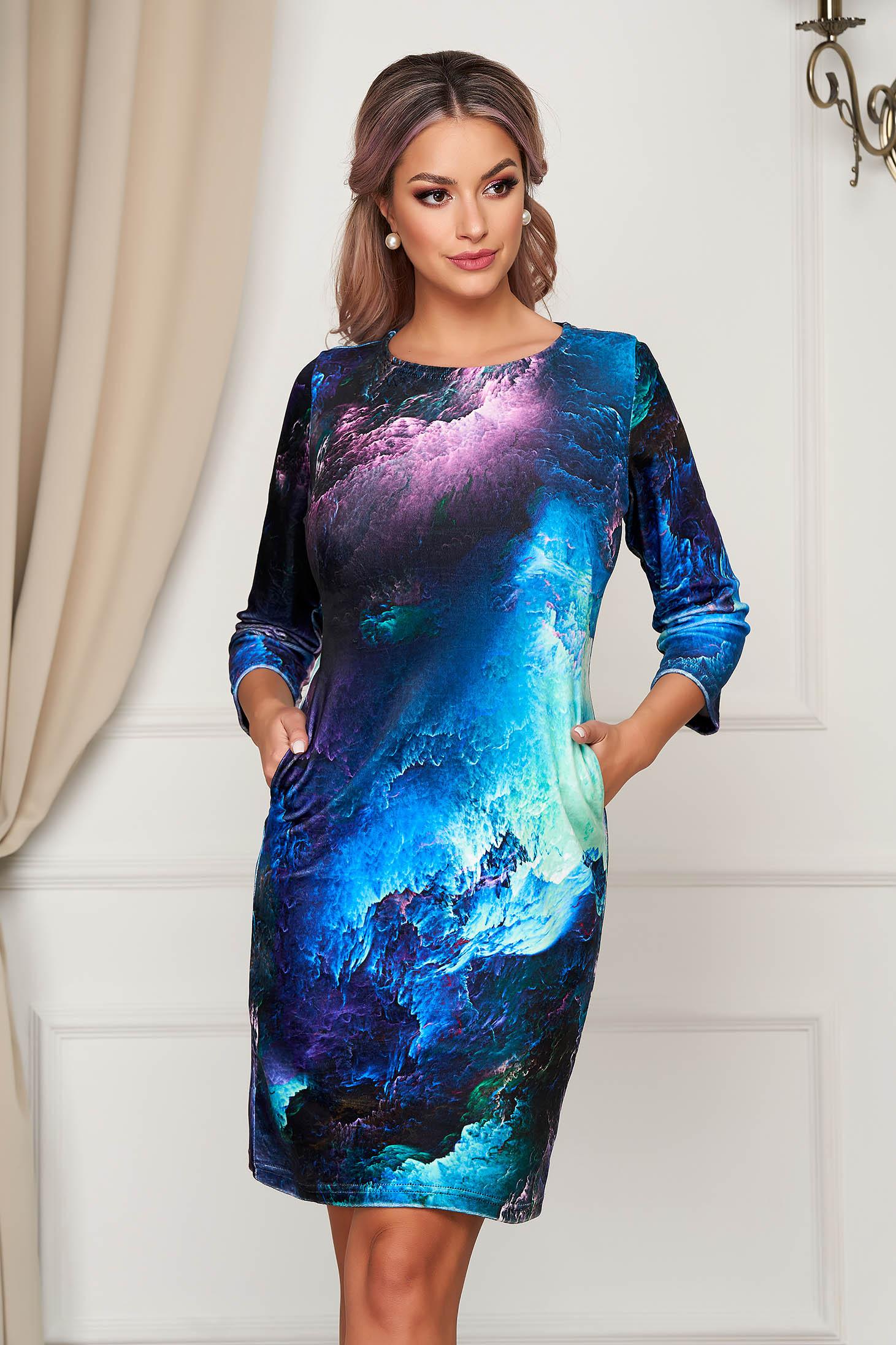 Blue dress short cut daily straight from velvet fabric