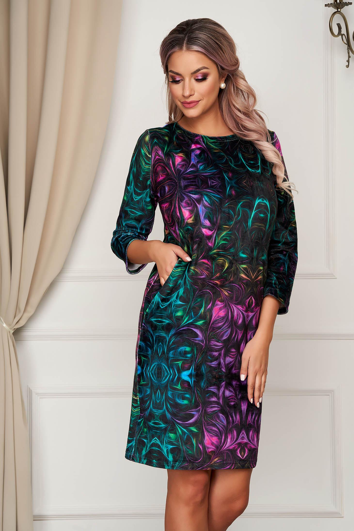 Dress short cut daily straight from velvet fabric
