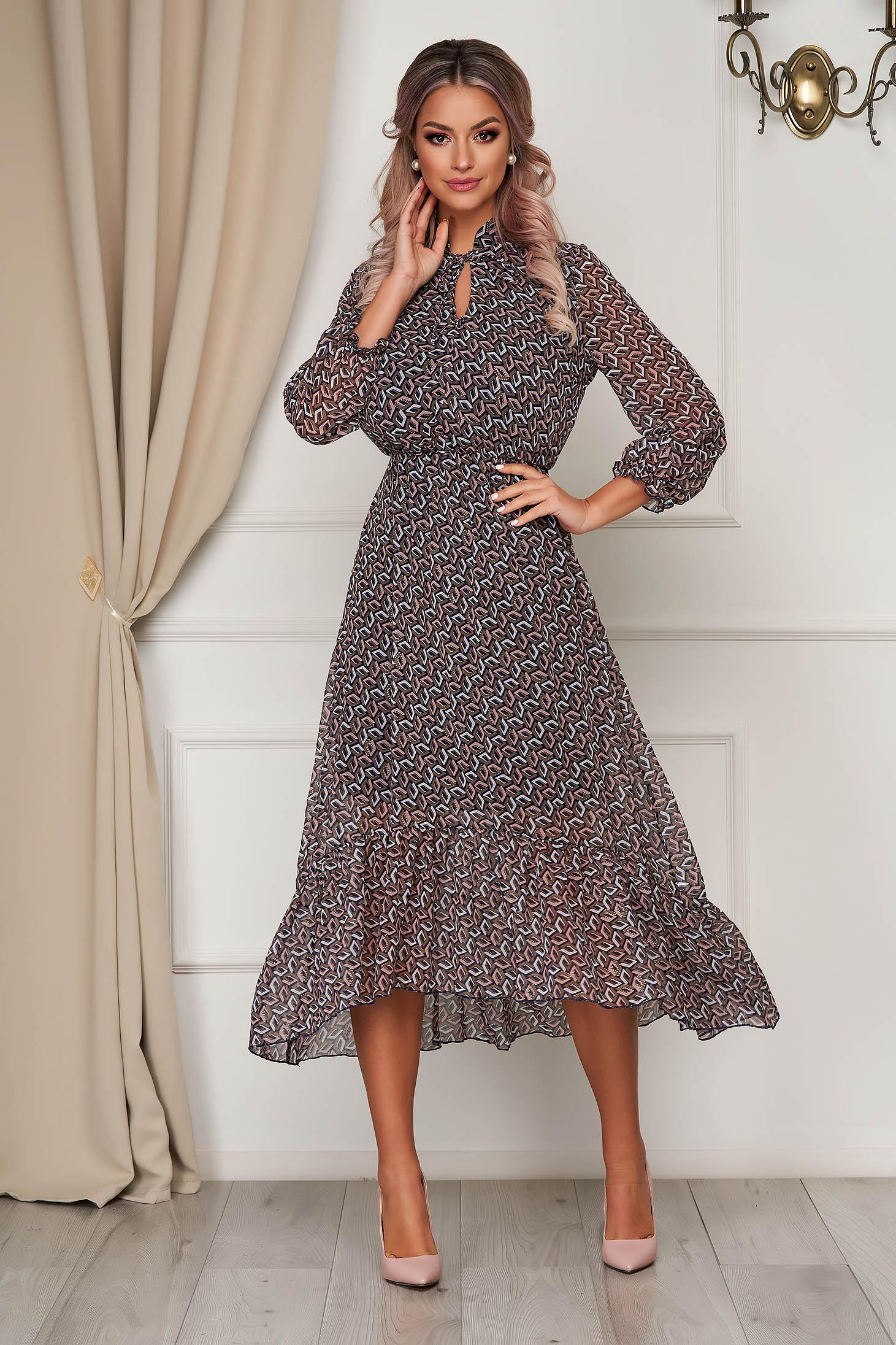 Barna StarShinerS ruha midi hétköznapi muszlinból harang alakú gumirozott derékrésszel