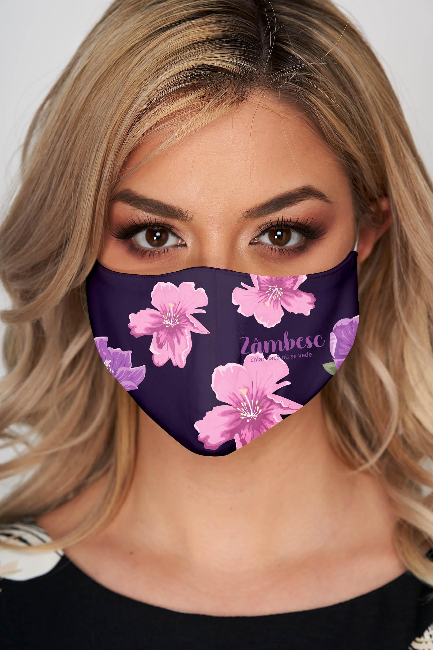 Masca textila pentru femei StarShinerS mov din stofa subtire cu imprimeu custom made