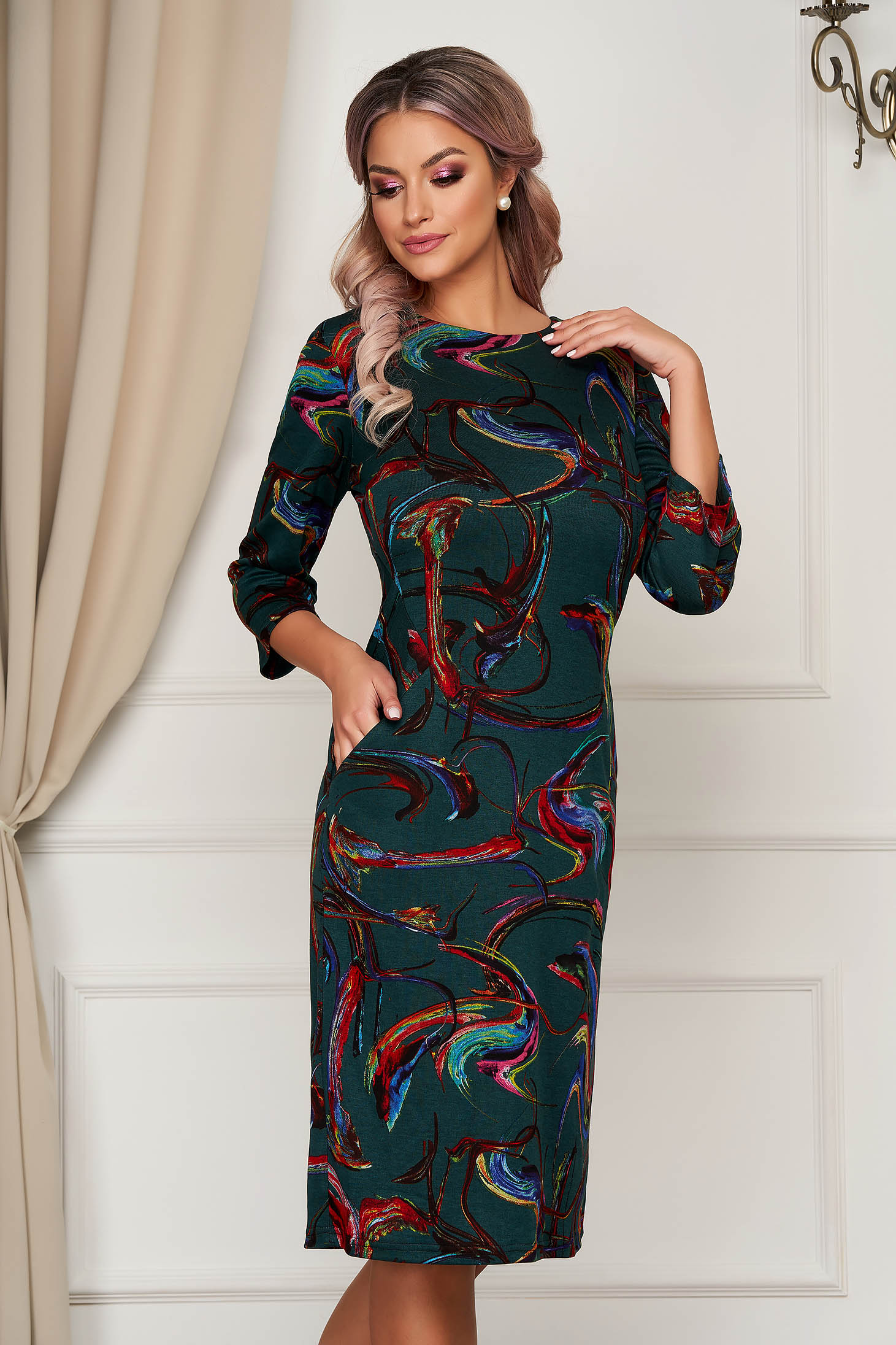 StarShinerS darkgreen dress midi daily knitted with pockets straight