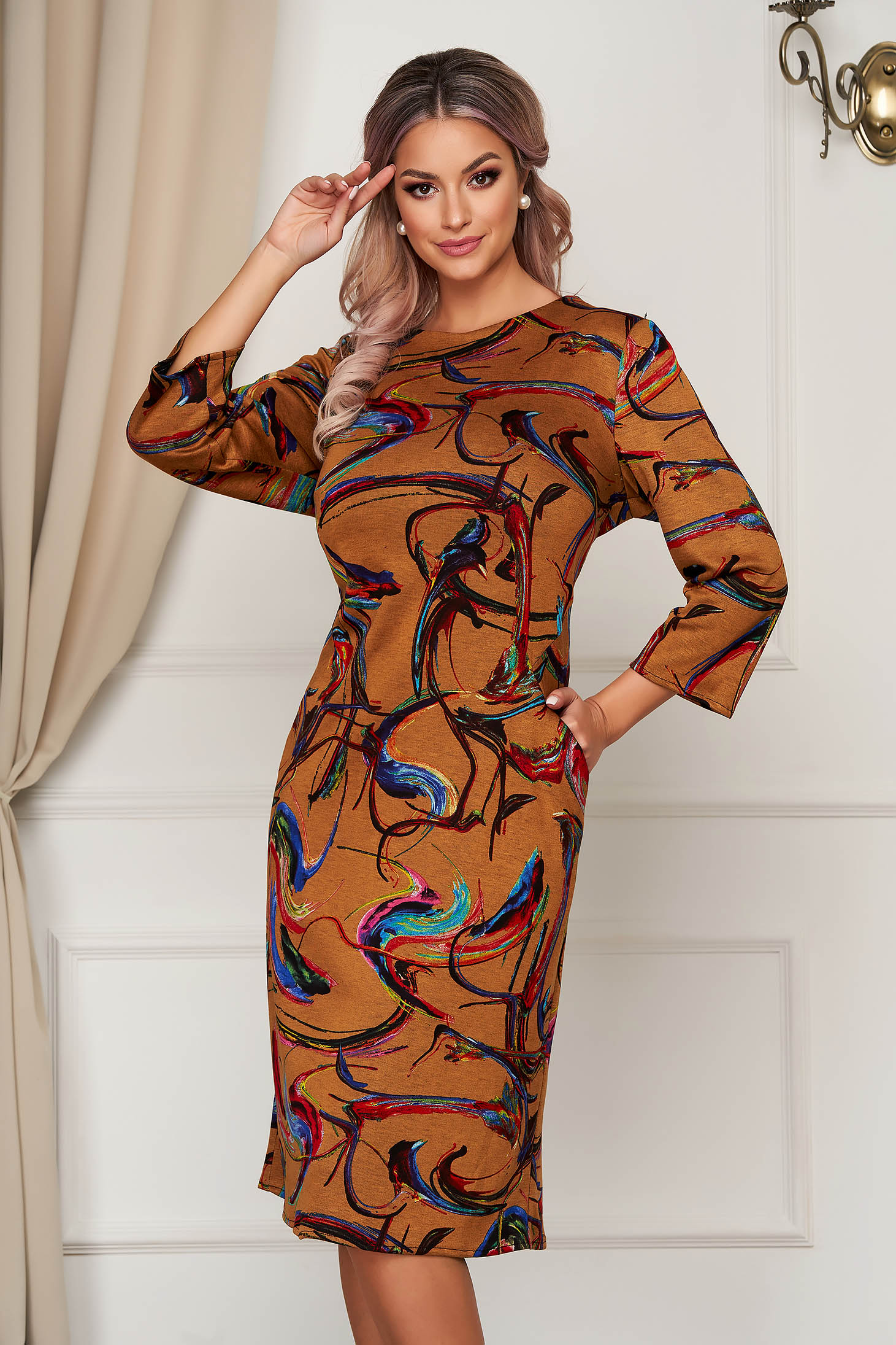 StarShinerS brown dress midi daily knitted with pockets straight