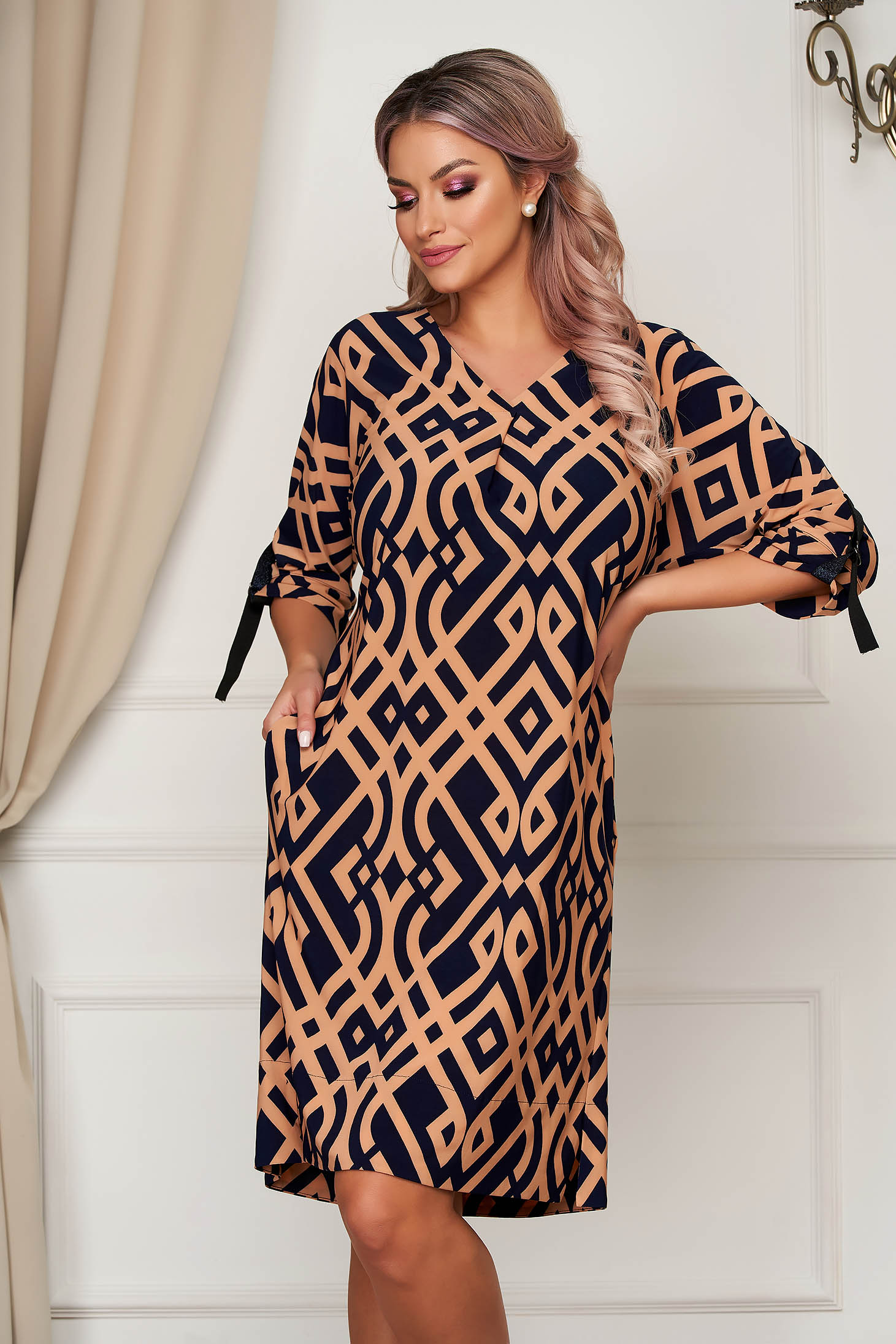StarShinerS darkblue dress daily straight with v-neckline thin fabric with geometrical print