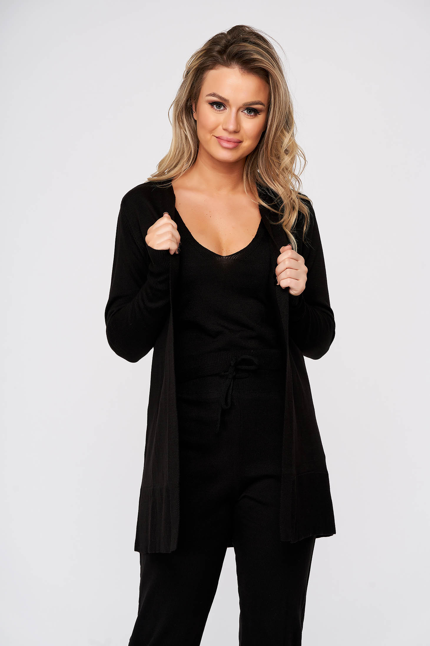 Trening dama SunShine negru casual din material tricotat cu cardigan