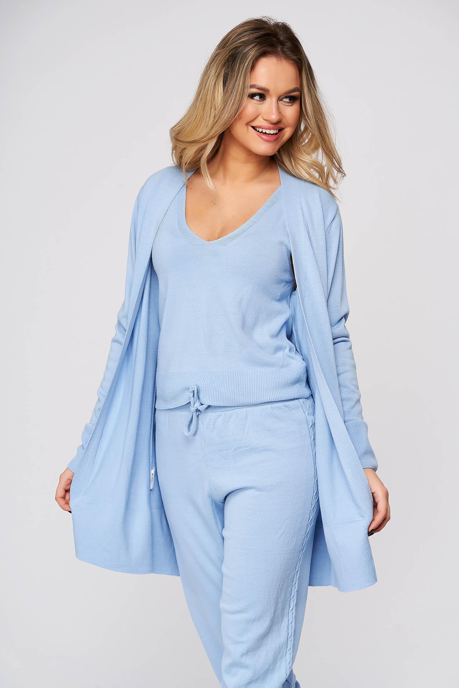 Trening dama SunShine albastru aqua casual din material tricotat cu cardigan