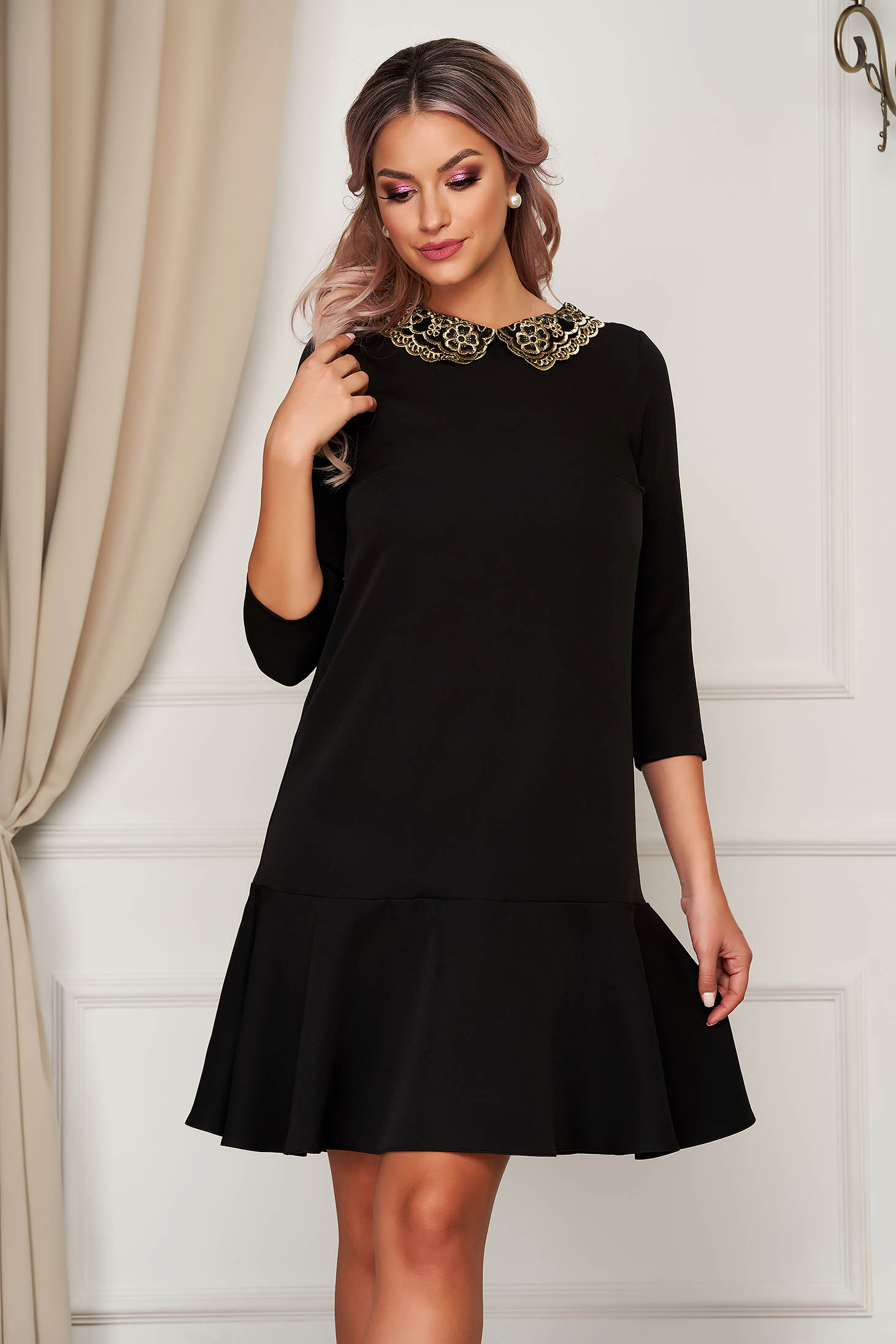 StarShinerS black dress elegant flared slightly elastic fabric with embroidery details