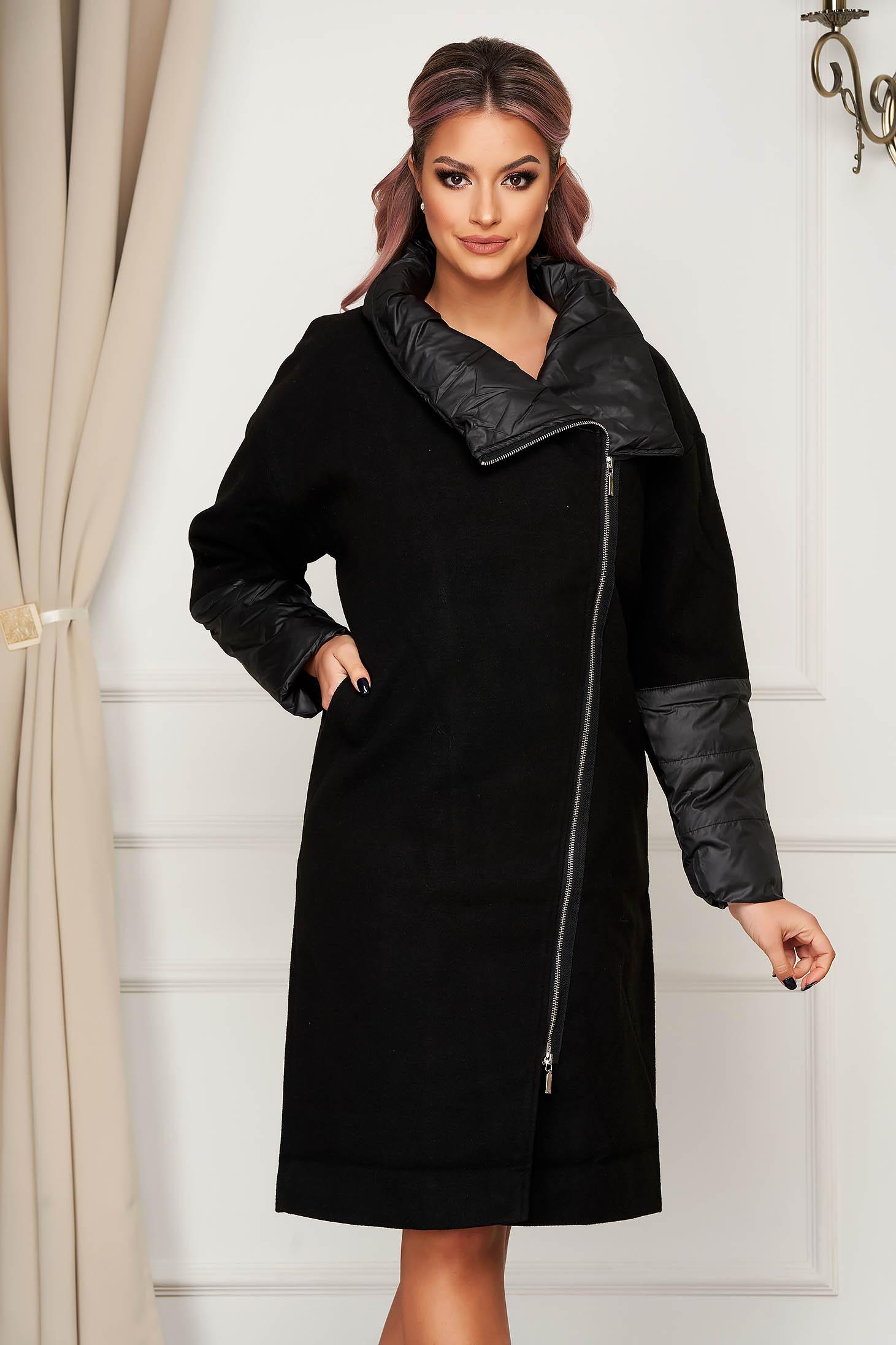 Palton Top Secret negru casual lung cu un croi drept si buzunare
