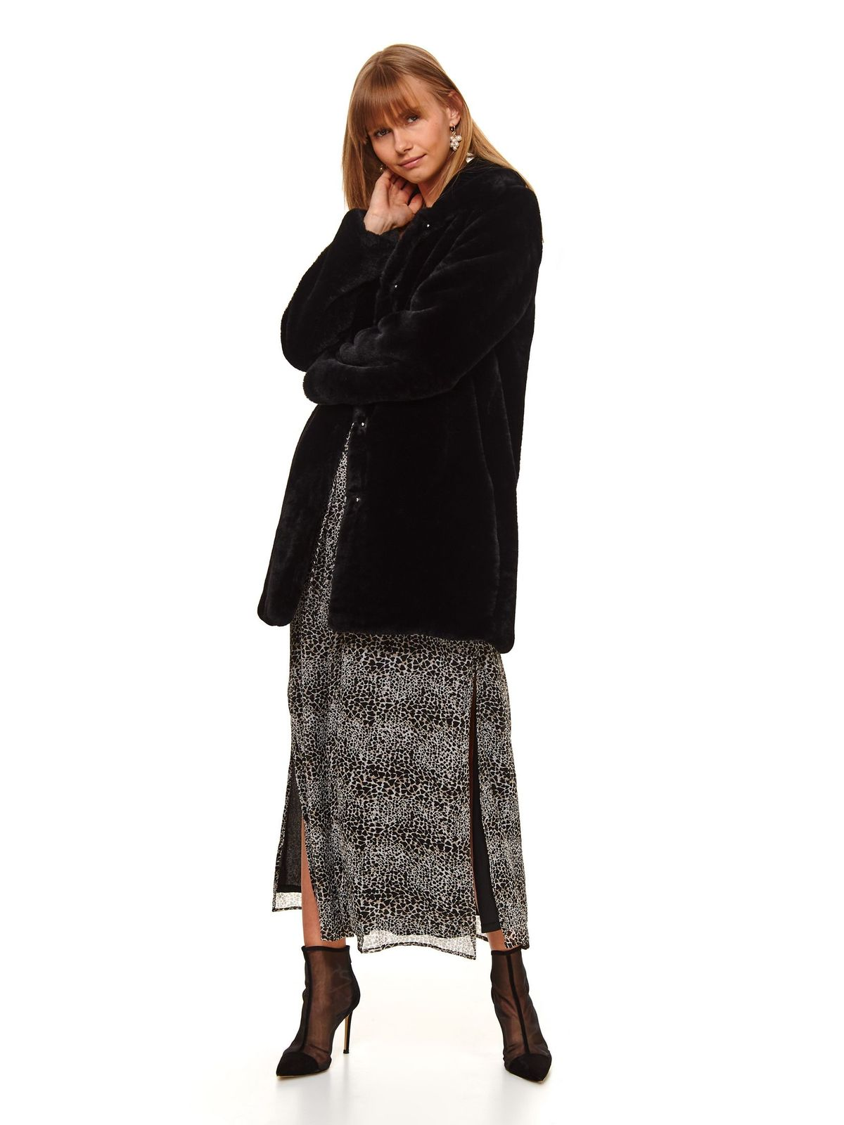 Black coat from ecological fur with straight cut