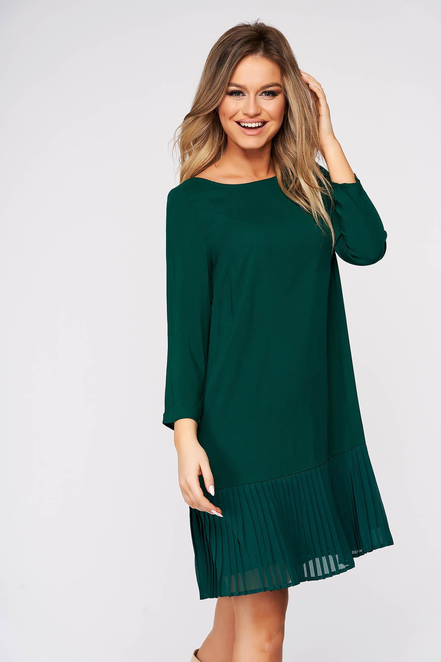 Zöld ruha rövid hétköznapi bő szabású fodros