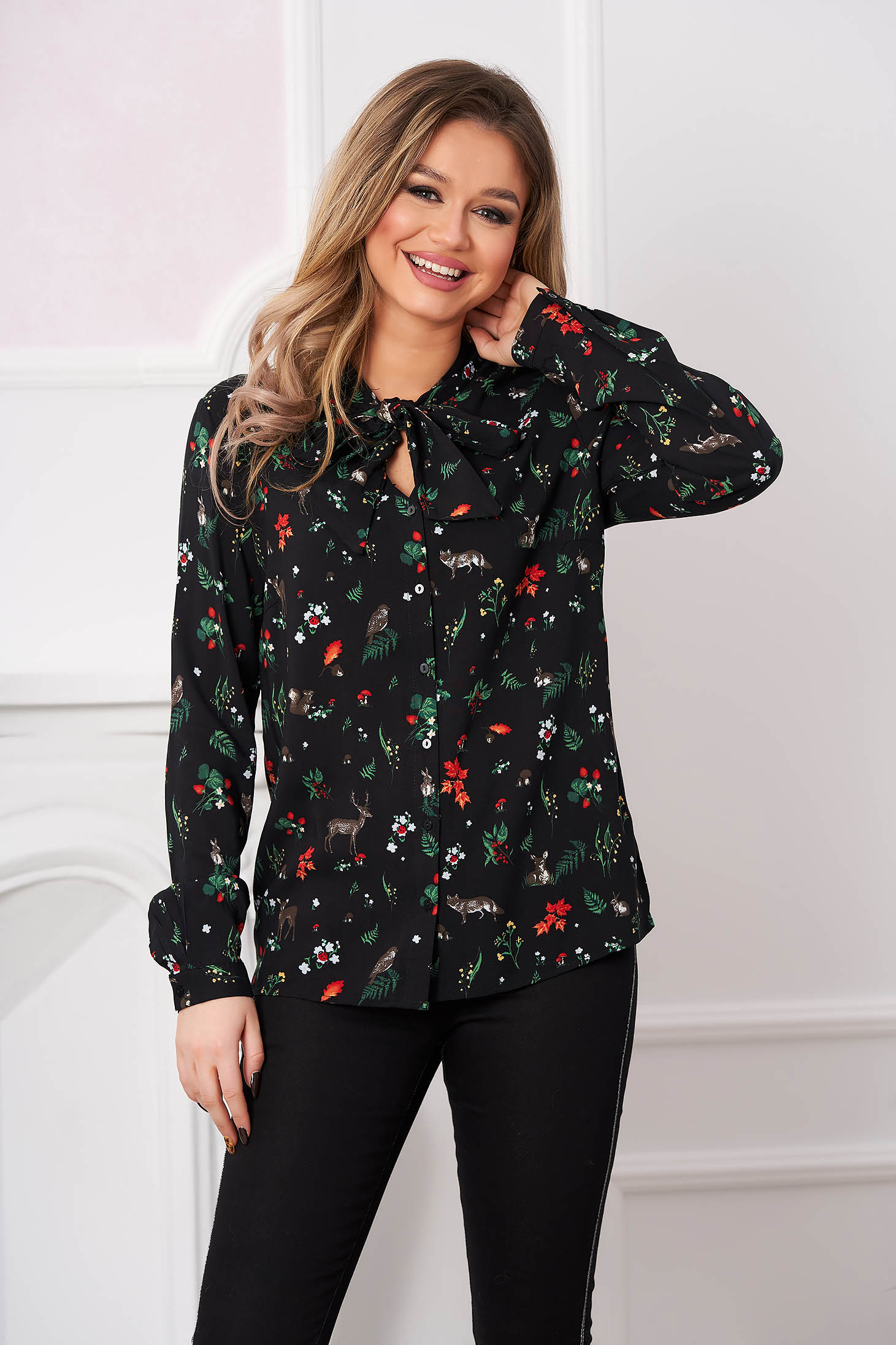 Black women`s shirt casual long sleeved