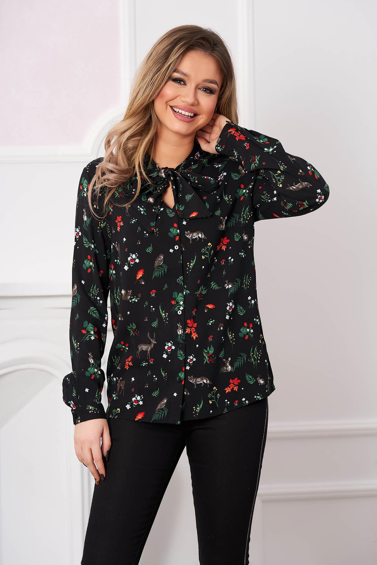 Fekete női ing casual hosszú ujjakkal kendő jellegű gallér