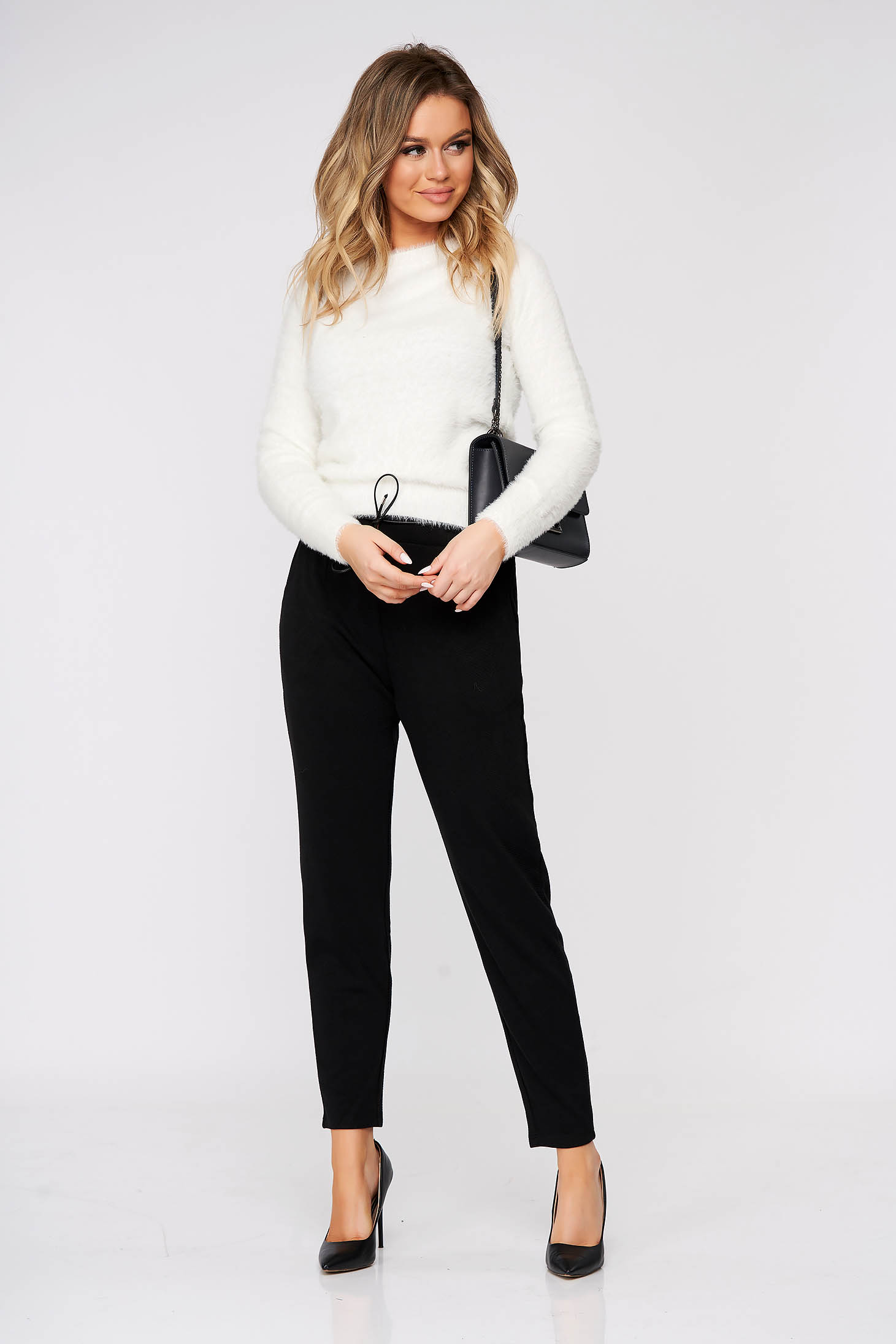 Black trousers casual conical with pockets