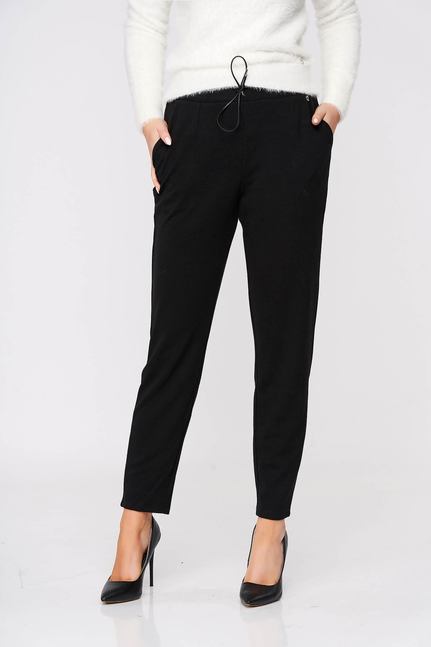 Pantaloni Top Secret negri casual conici cu buzunare