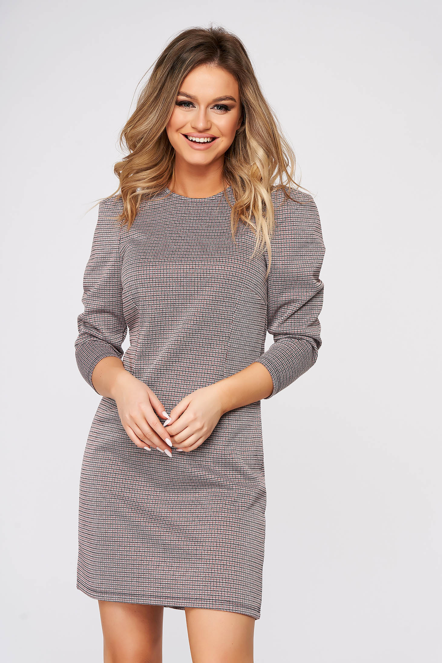 Grey dress short cut daily high shoulders with chequers