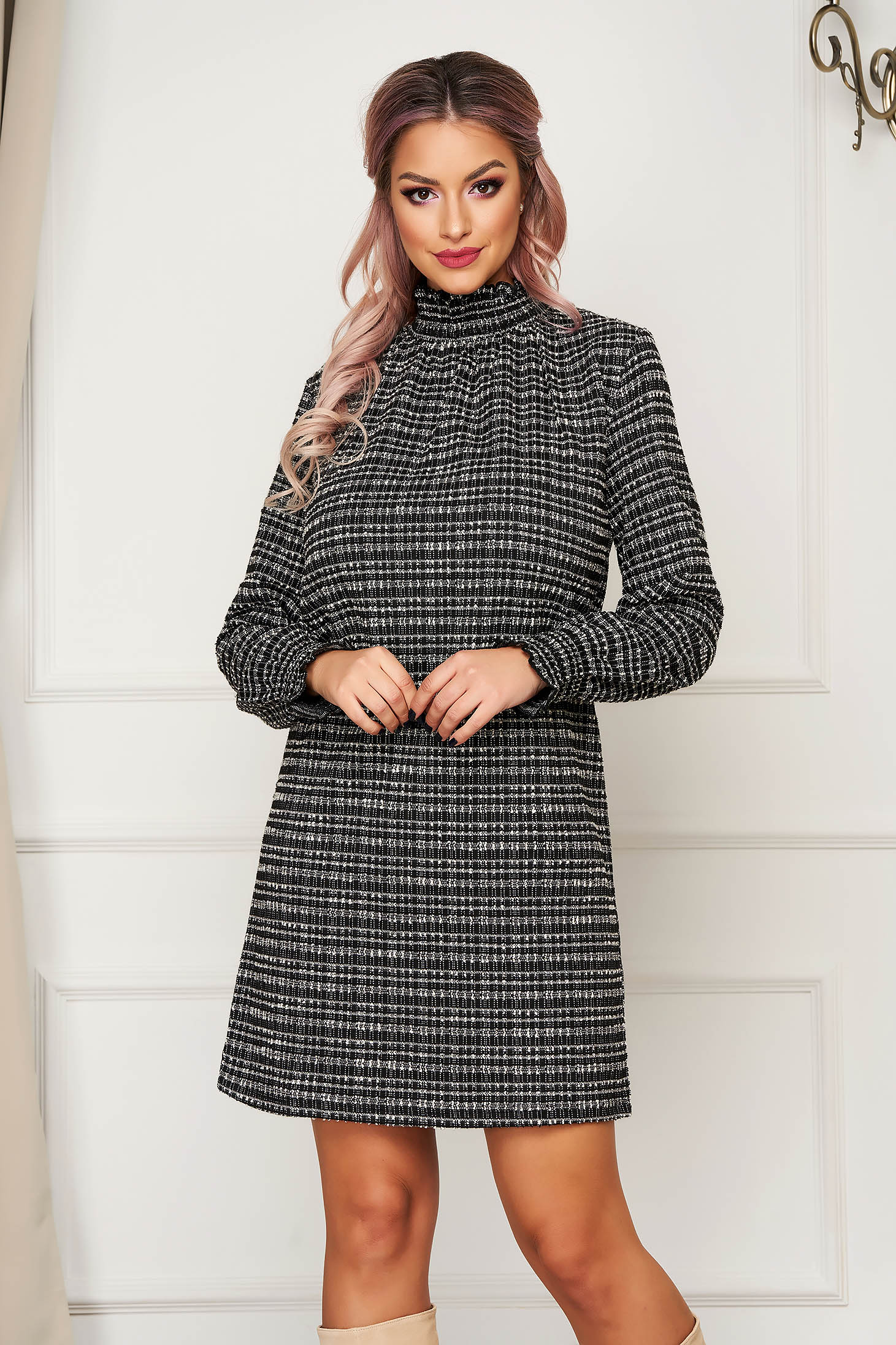 Black dress short cut daily with turtle neck long sleeved