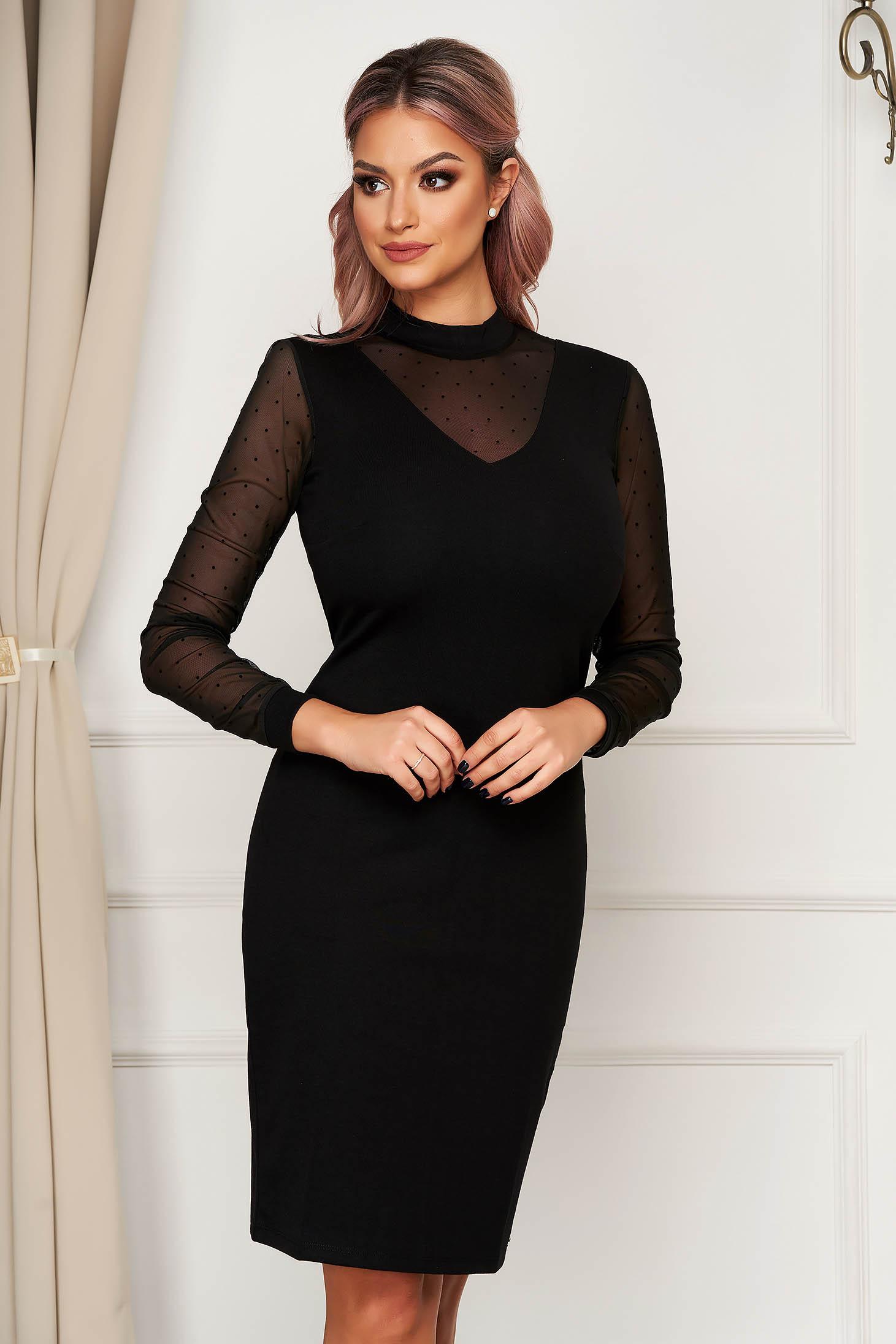 Black dress elegant short cut pencil long sleeved with net accessory