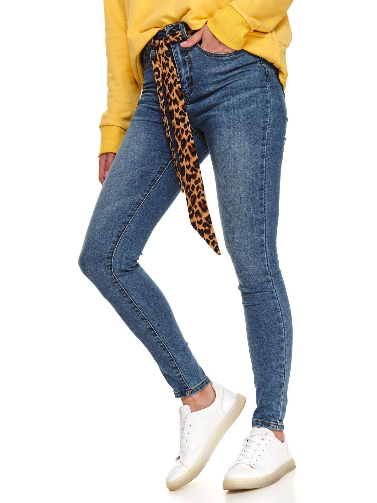 Blue jeans casual skinny jeans with medium waist