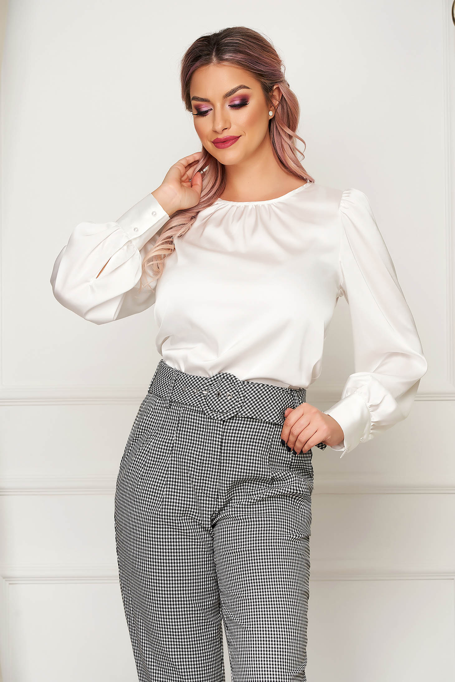 White women`s blouse office flared from satin fabric texture