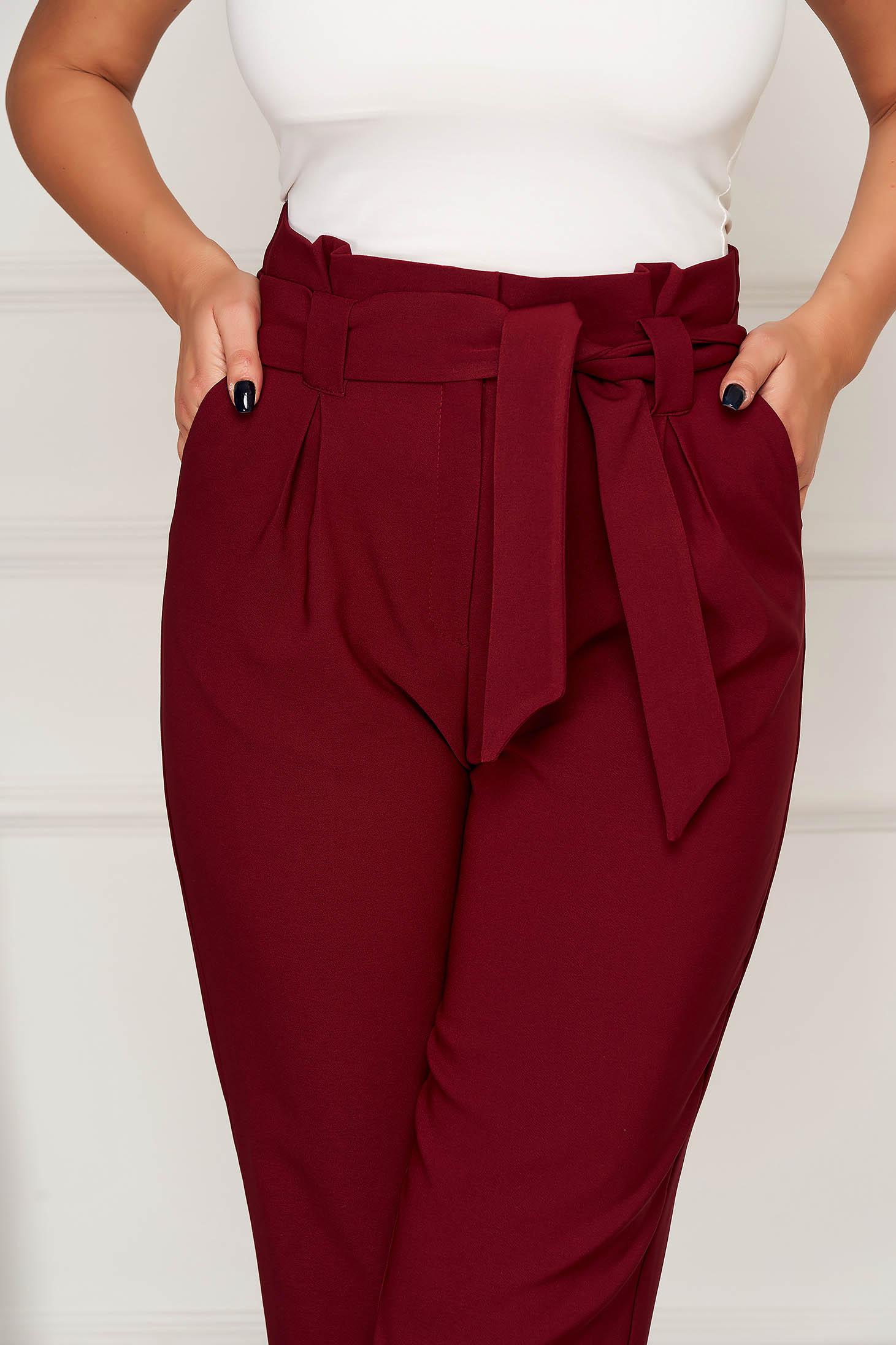 Pantaloni visinii office conici din stofa cu buzunare