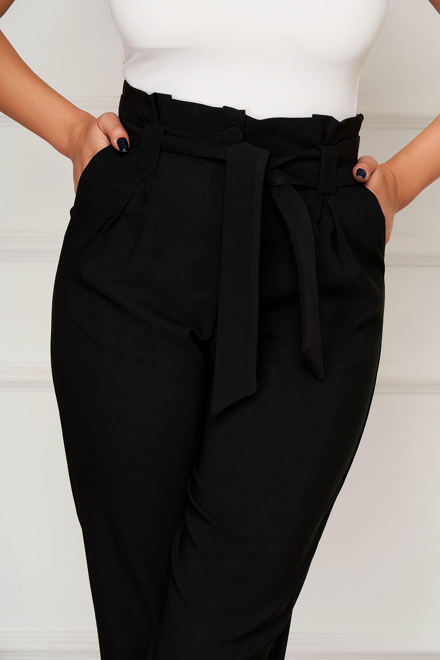 Pantaloni Artista negri office conici din stofa cu buzunare