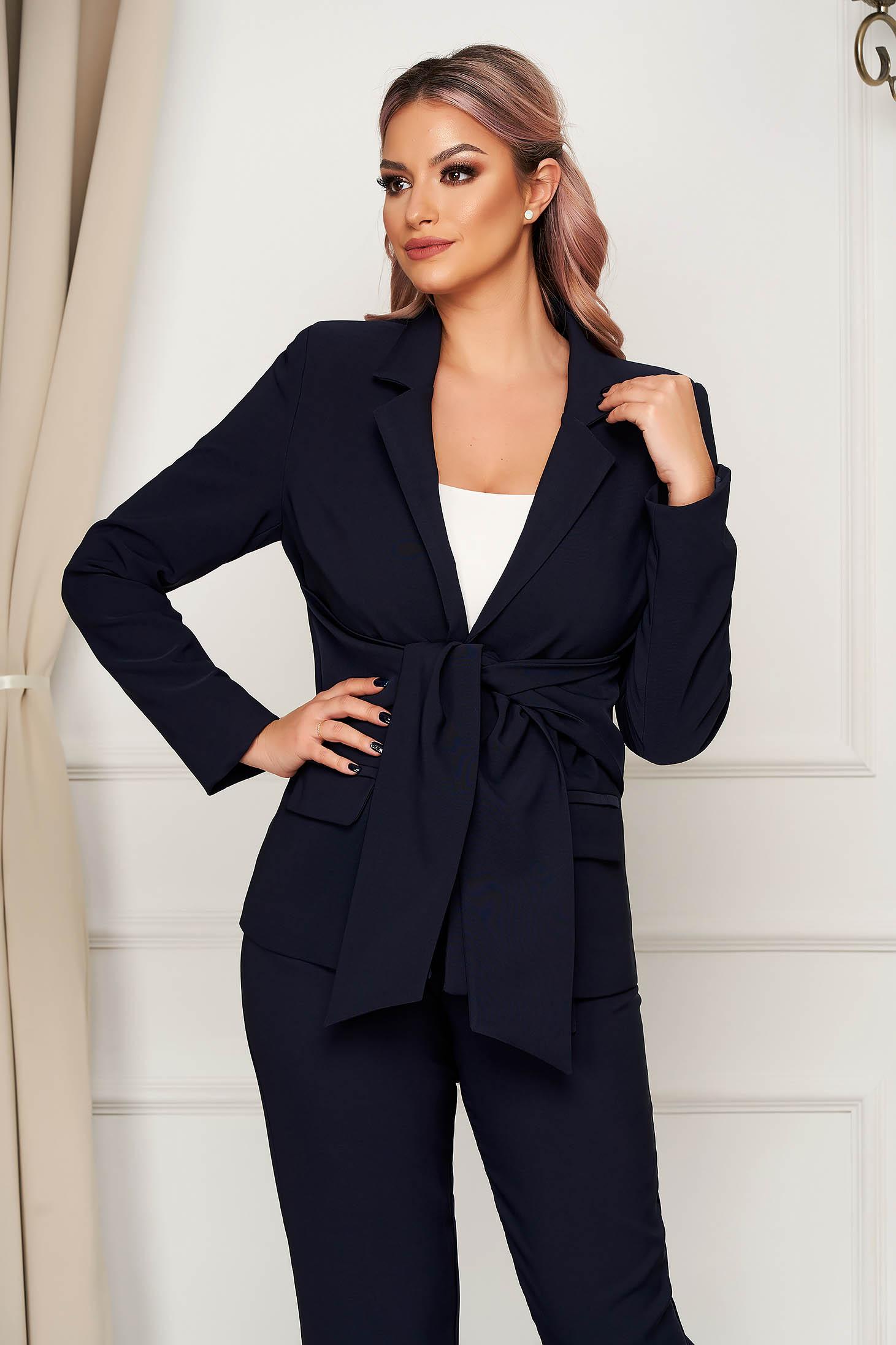 Darkblue jacket office straight slightly elastic fabric